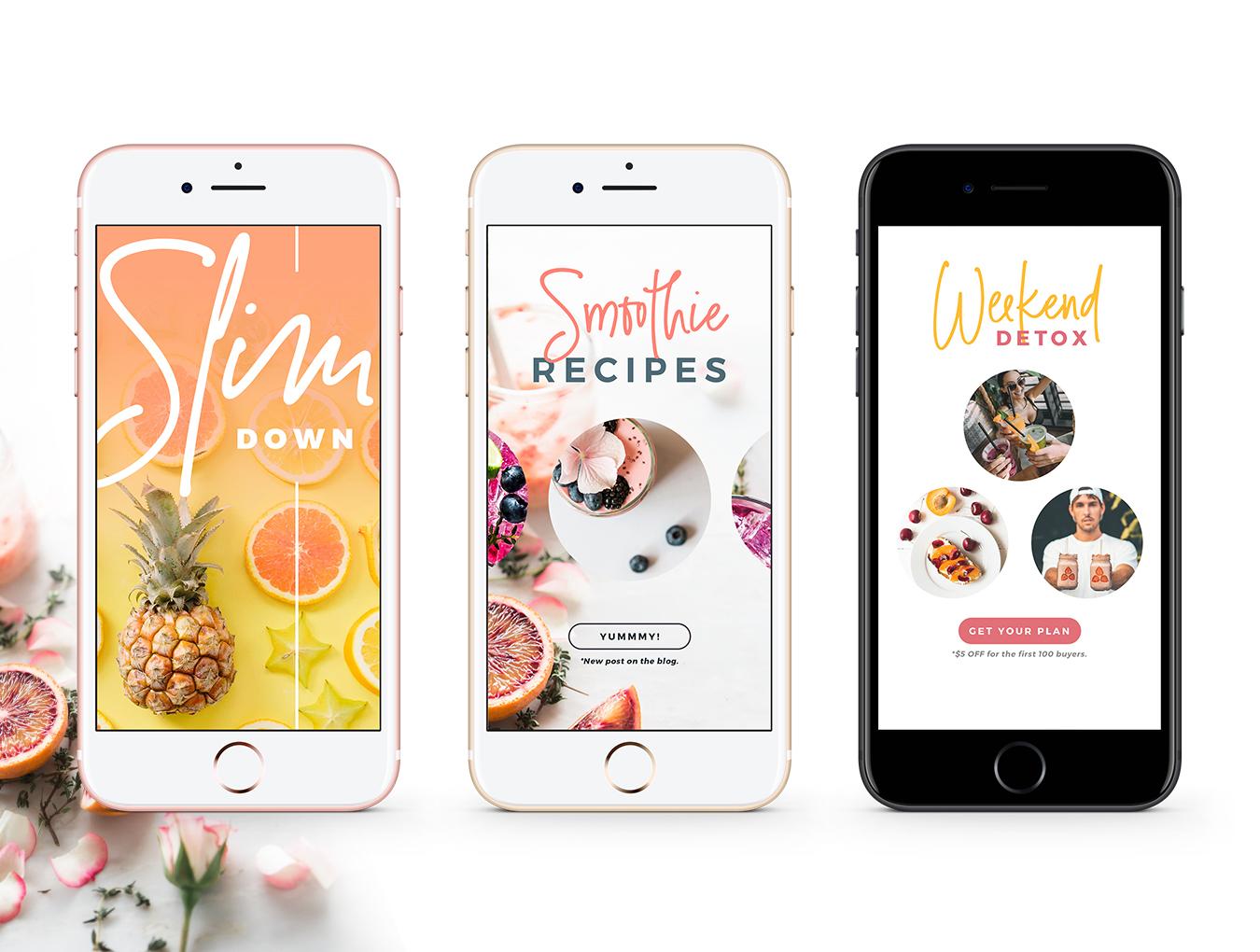营养美食健身运动博主Instagram社交设计素材包 Detox Week Insta Stories插图(7)