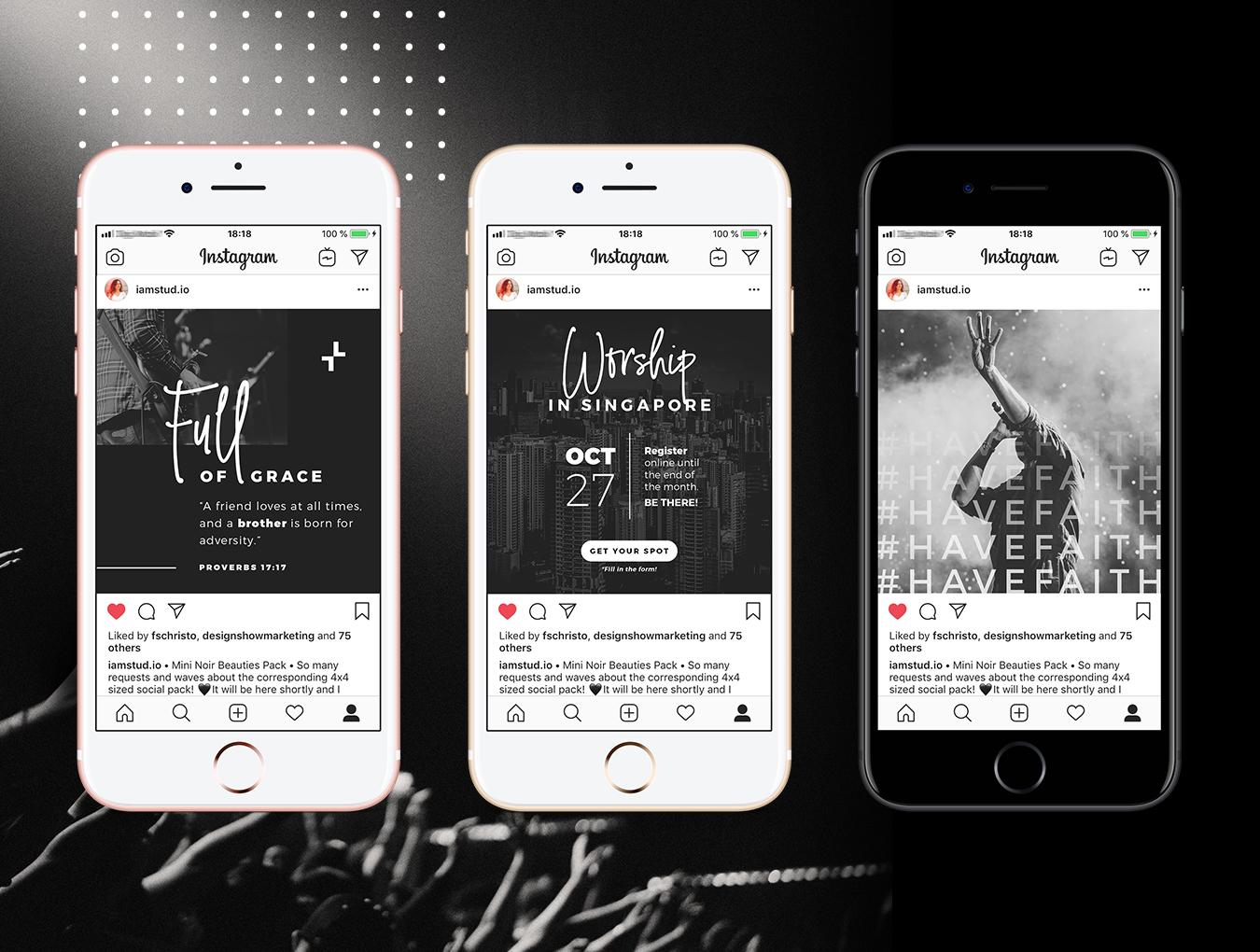 黑白色系品牌营销故事Instagram社交媒体设计素材 New Church Social Pack插图(5)
