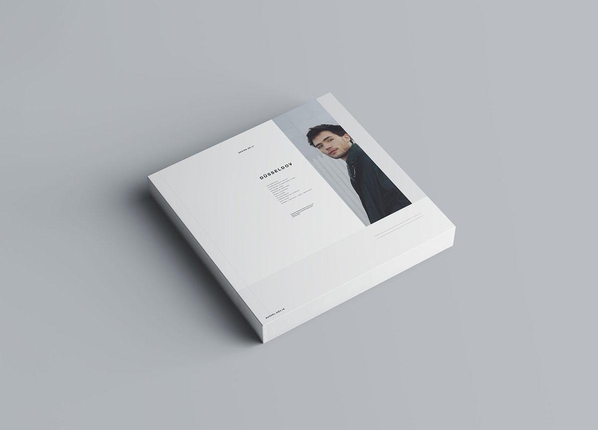 方形精装书画册封面设计预览效果样机模板 Square Softcover Book Mocku插图1