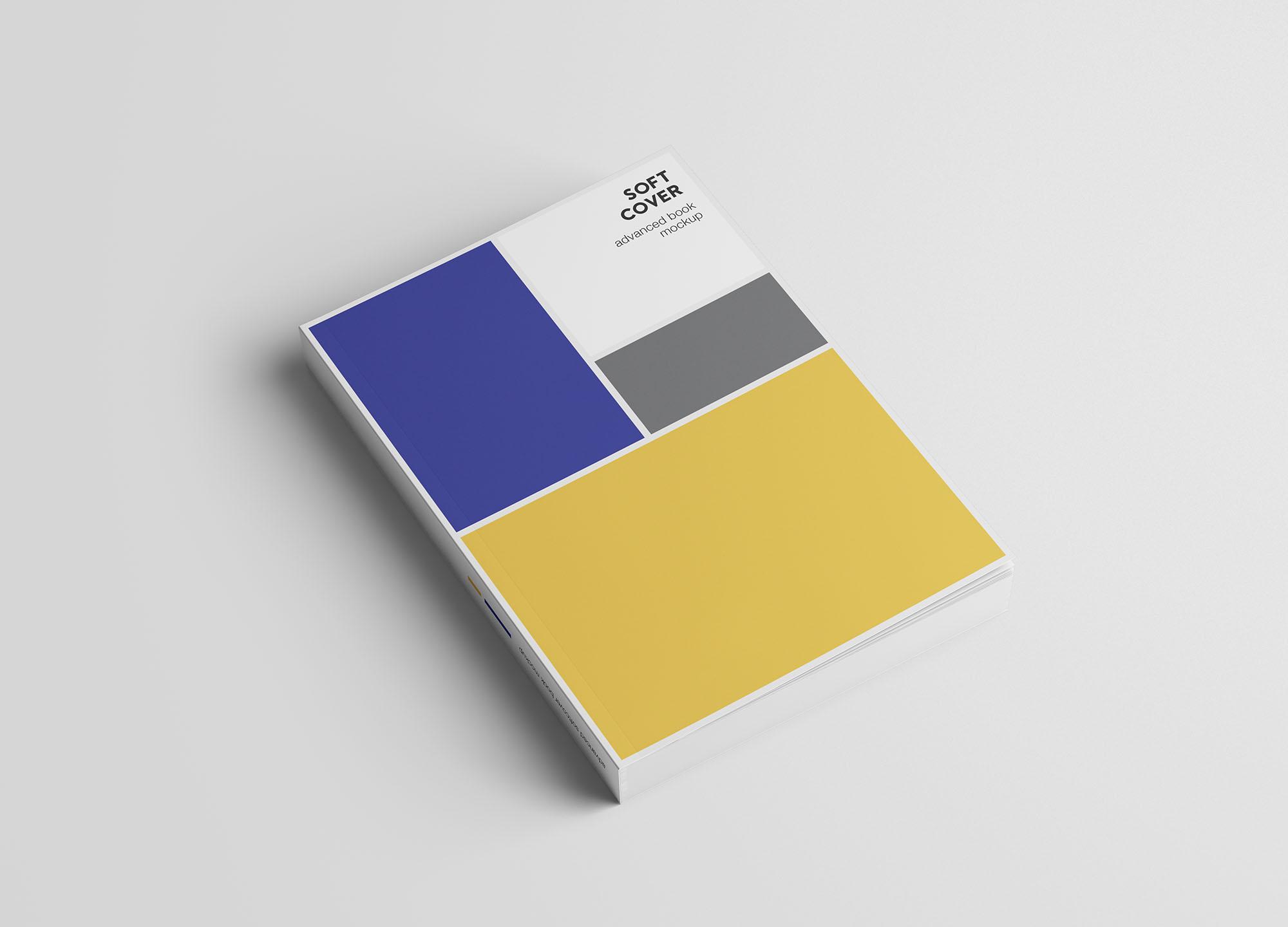 专业设计的A5平装书画册样机PSD模板 A5 Softcover Book Mockup插图(1)