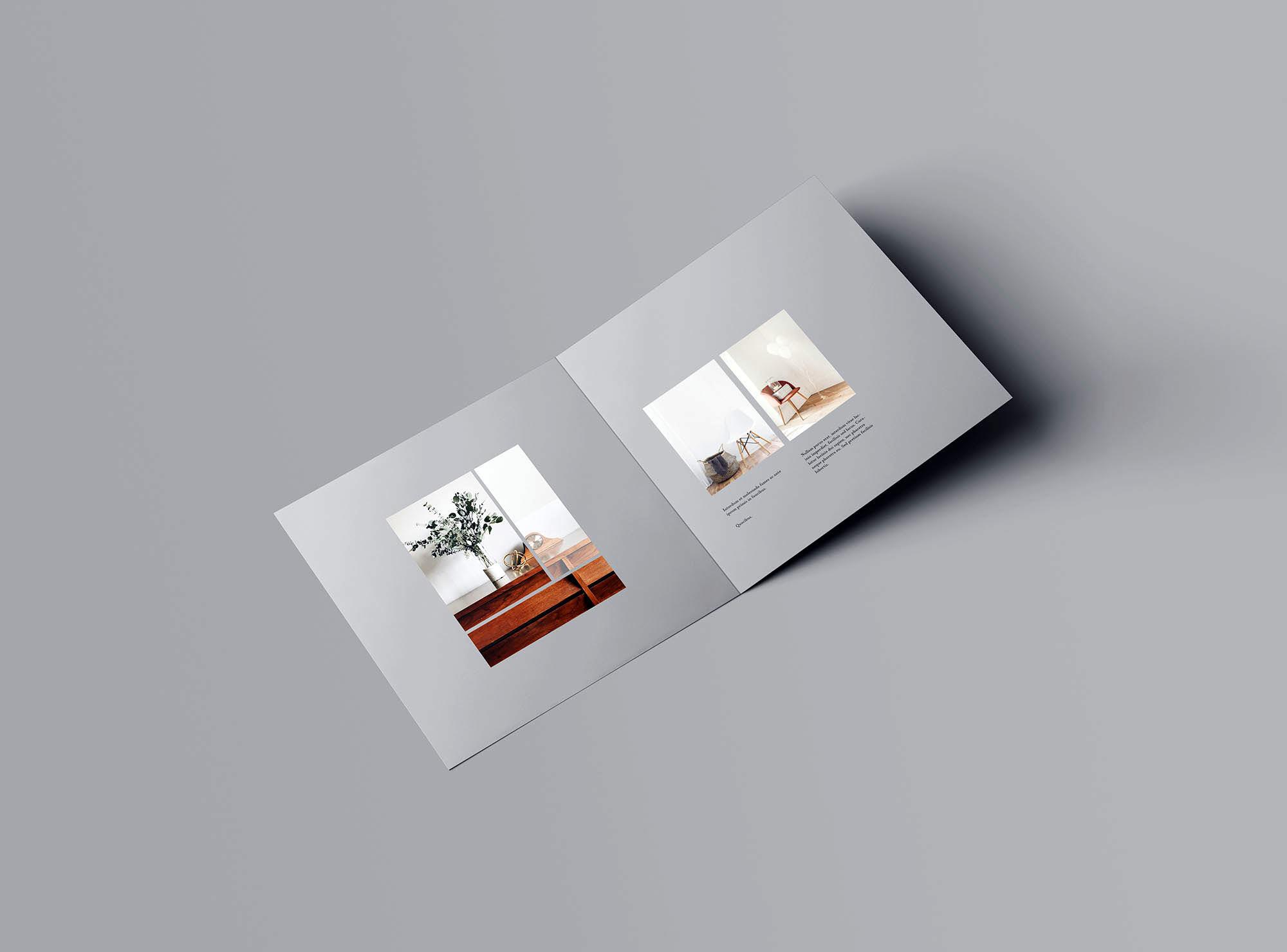 高级方形双折小册子样机PSD模板 Square Bifold Brochure Mockup插图(1)
