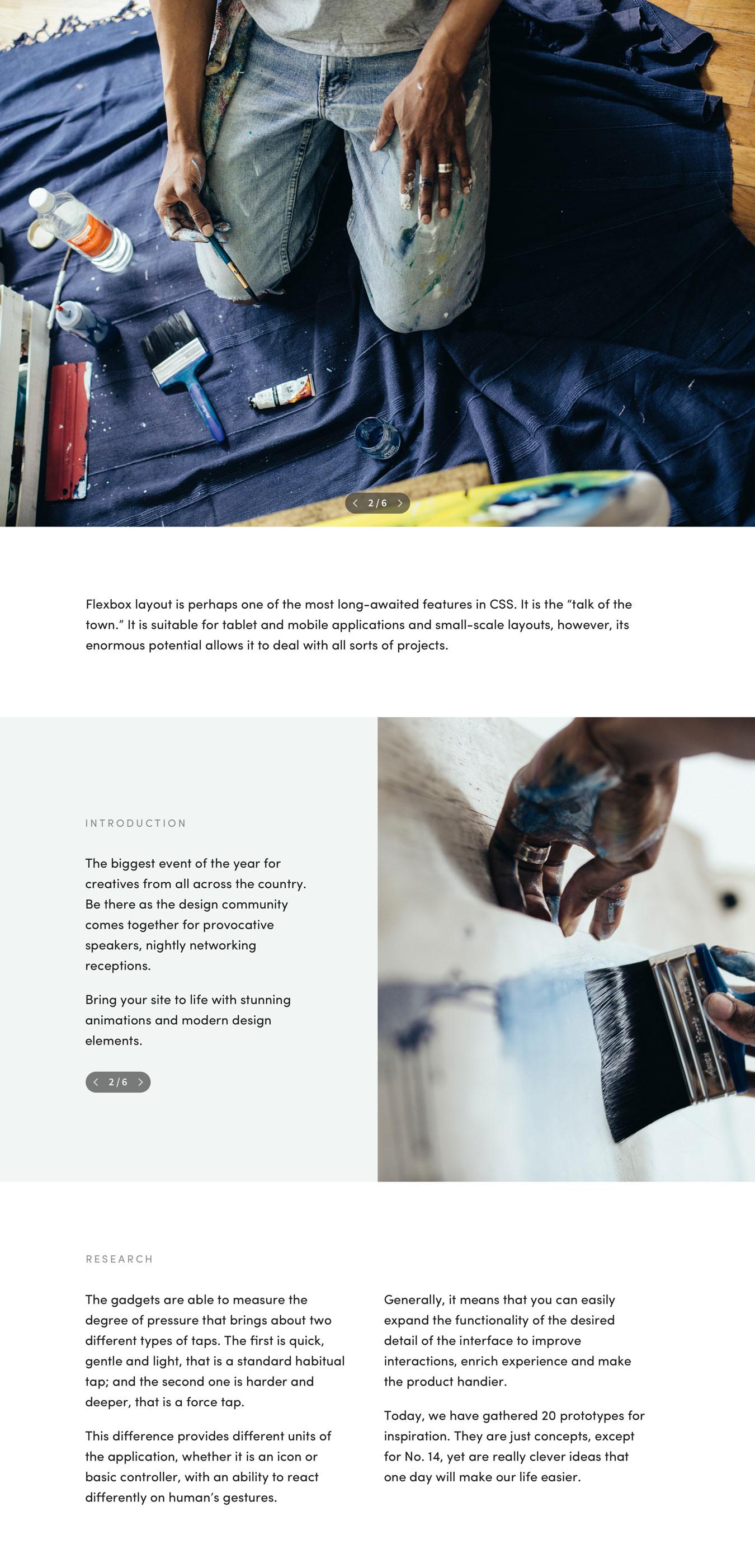 专业设计的讲座设计作品网站页面模板 Mirror Template插图(4)
