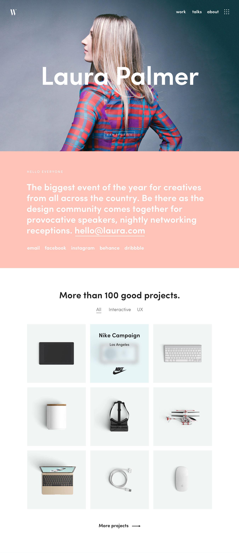 专业设计的讲座设计作品网站页面模板 Mirror Template插图
