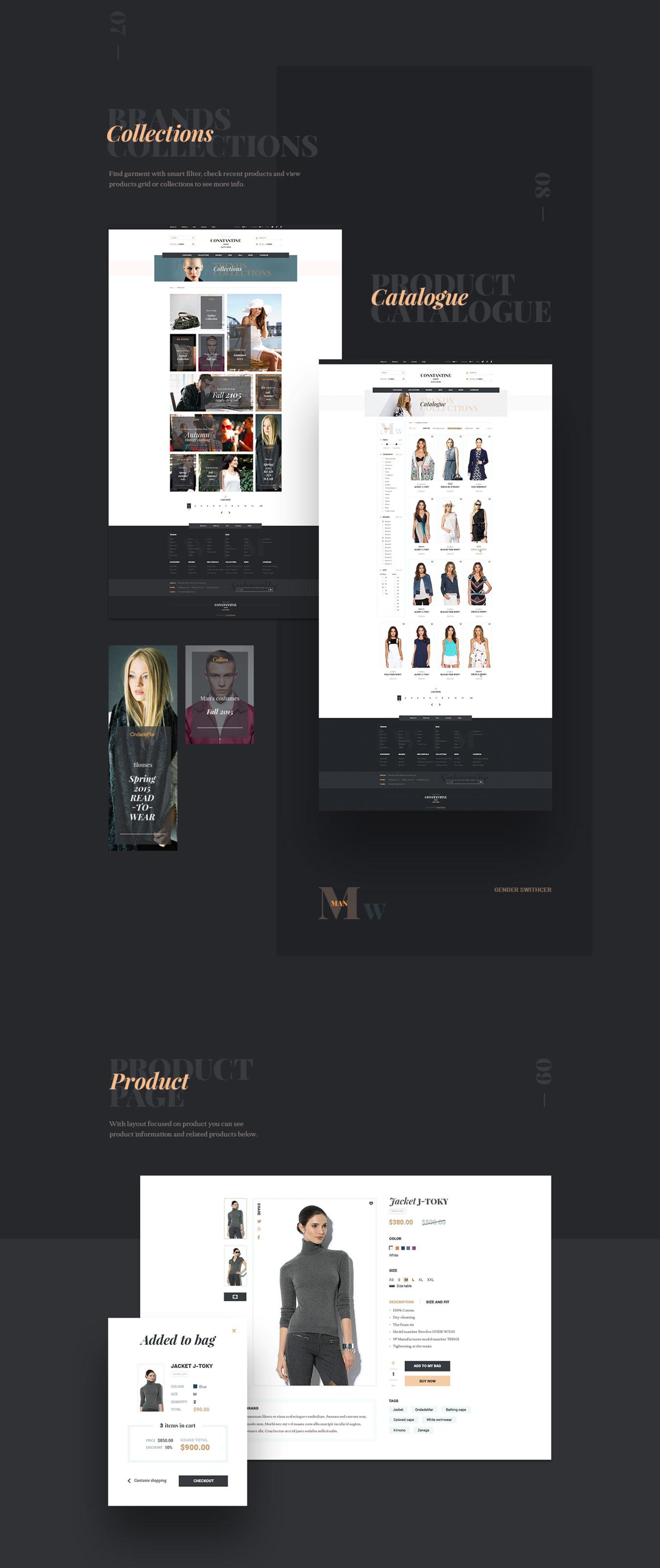高端服装品牌电子商务网站PSD模板 Constantine插图(2)