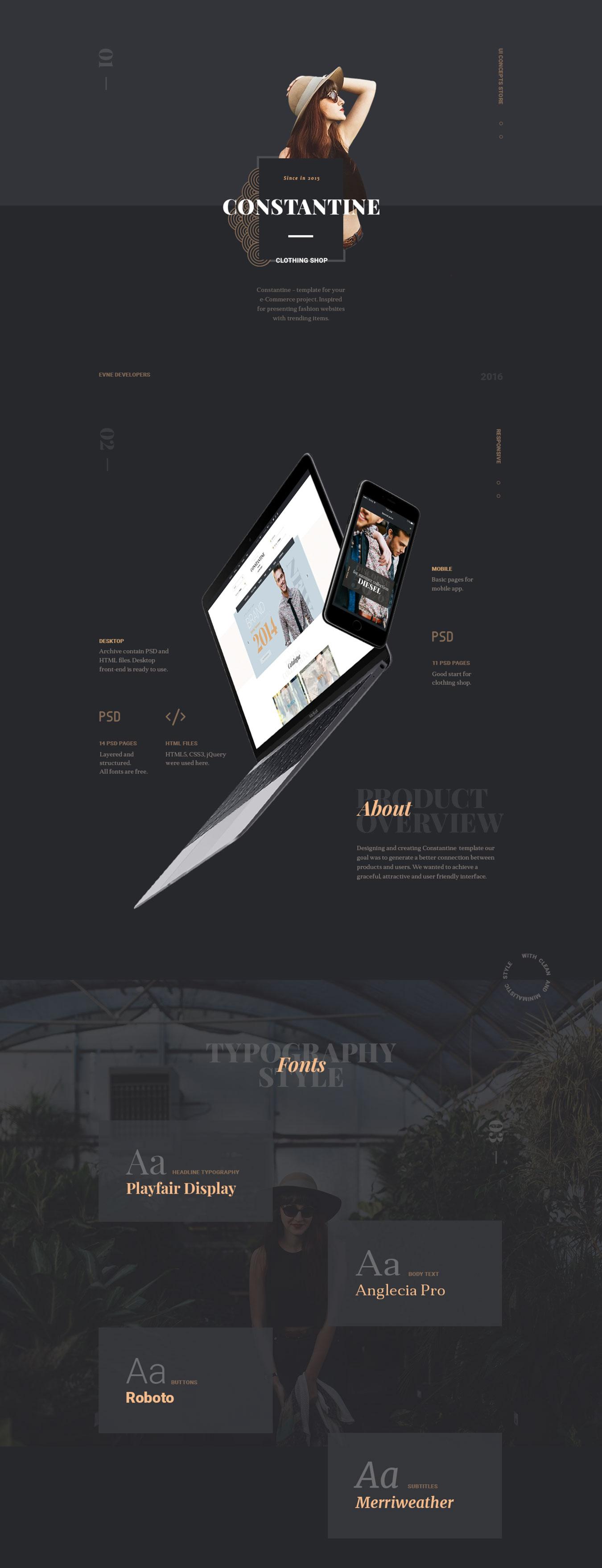 高端服装品牌电子商务网站PSD模板 Constantine插图