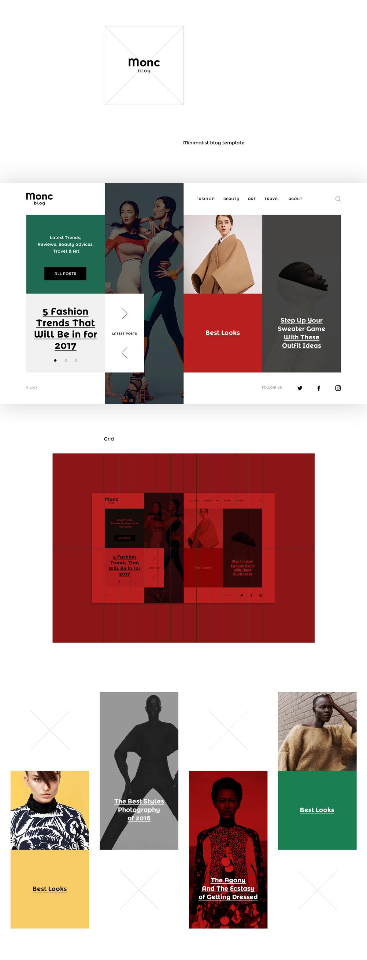 高质量手机版艺术旅游博客网站设计PSD模板 Monc Blog Template插图