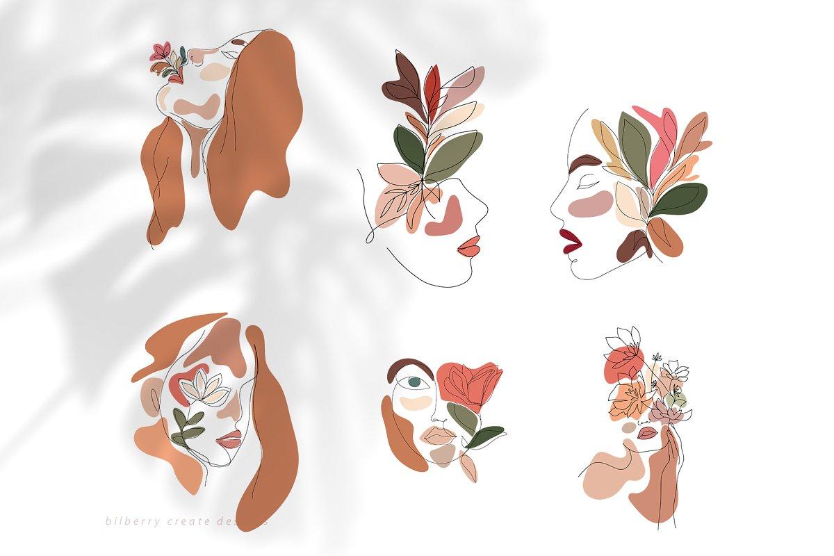 现代抽象叶子花卉女性人脸矢量插图 MonoGirl collection插图(16)