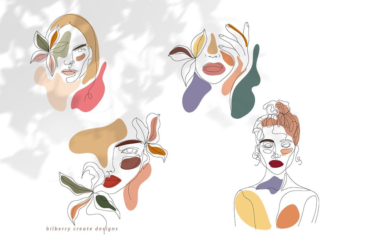 现代抽象叶子花卉女性人脸矢量插图 MonoGirl collection插图(17)