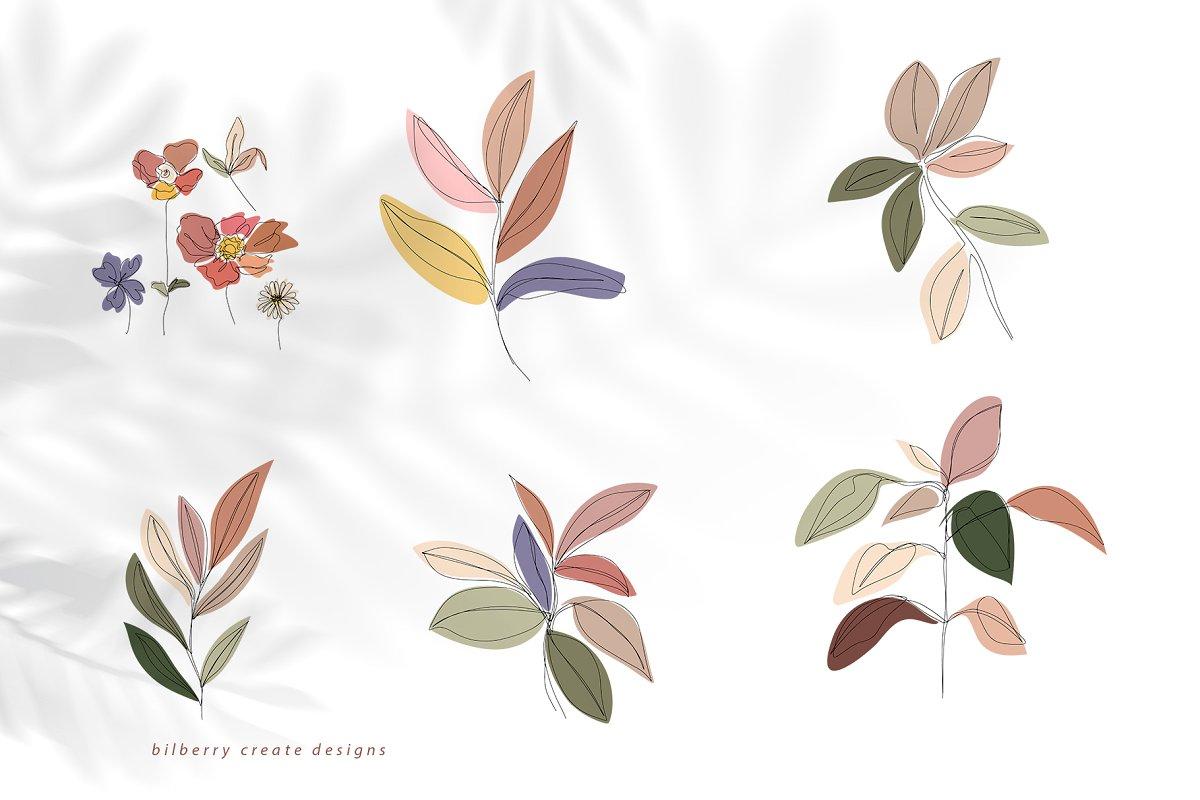 现代抽象叶子花卉女性人脸矢量插图 MonoGirl collection插图(18)
