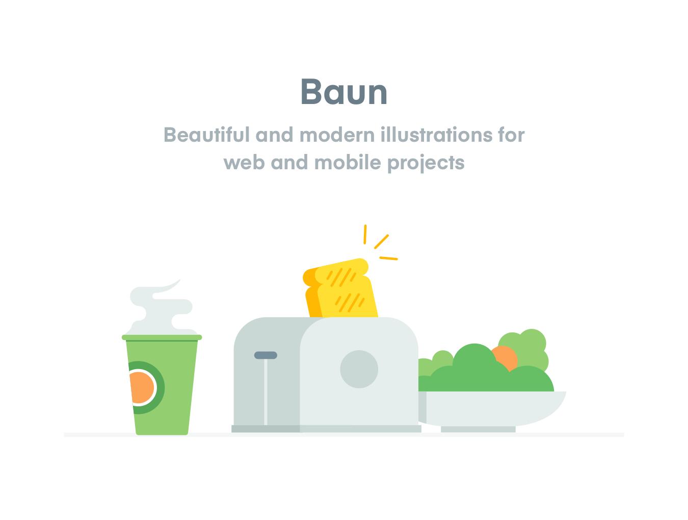 办公房屋电子设备矢量插图图标 Baun Easy Illustration插图