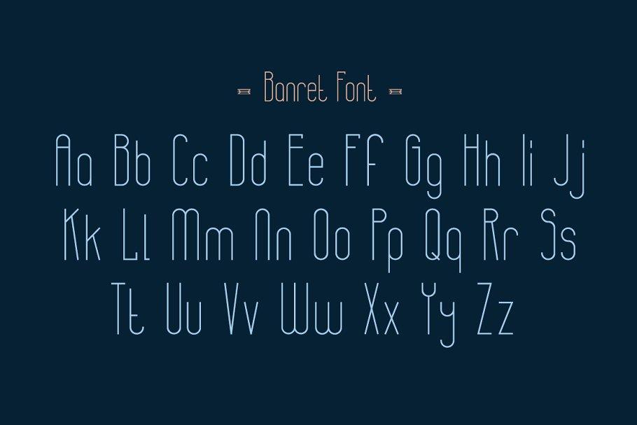 极简复古几何形状构建的英文字体下载 Banret. Font Family插图(1)