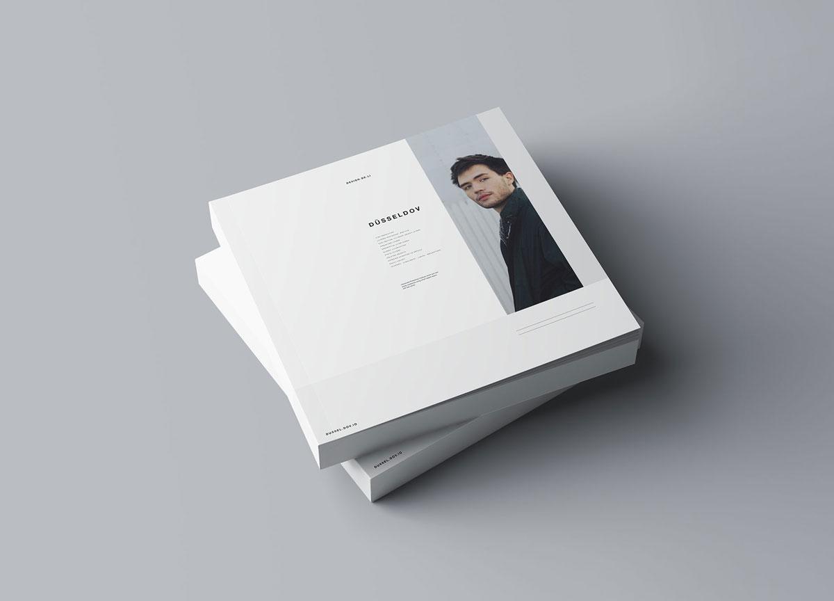 方形精装书画册封面设计预览效果样机模板 Square Softcover Book Mocku插图(2)