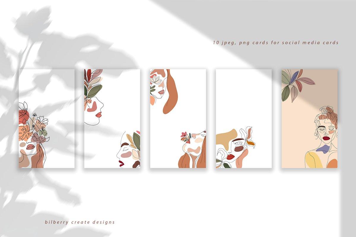 现代抽象叶子花卉女性人脸矢量插图 MonoGirl collection插图(1)