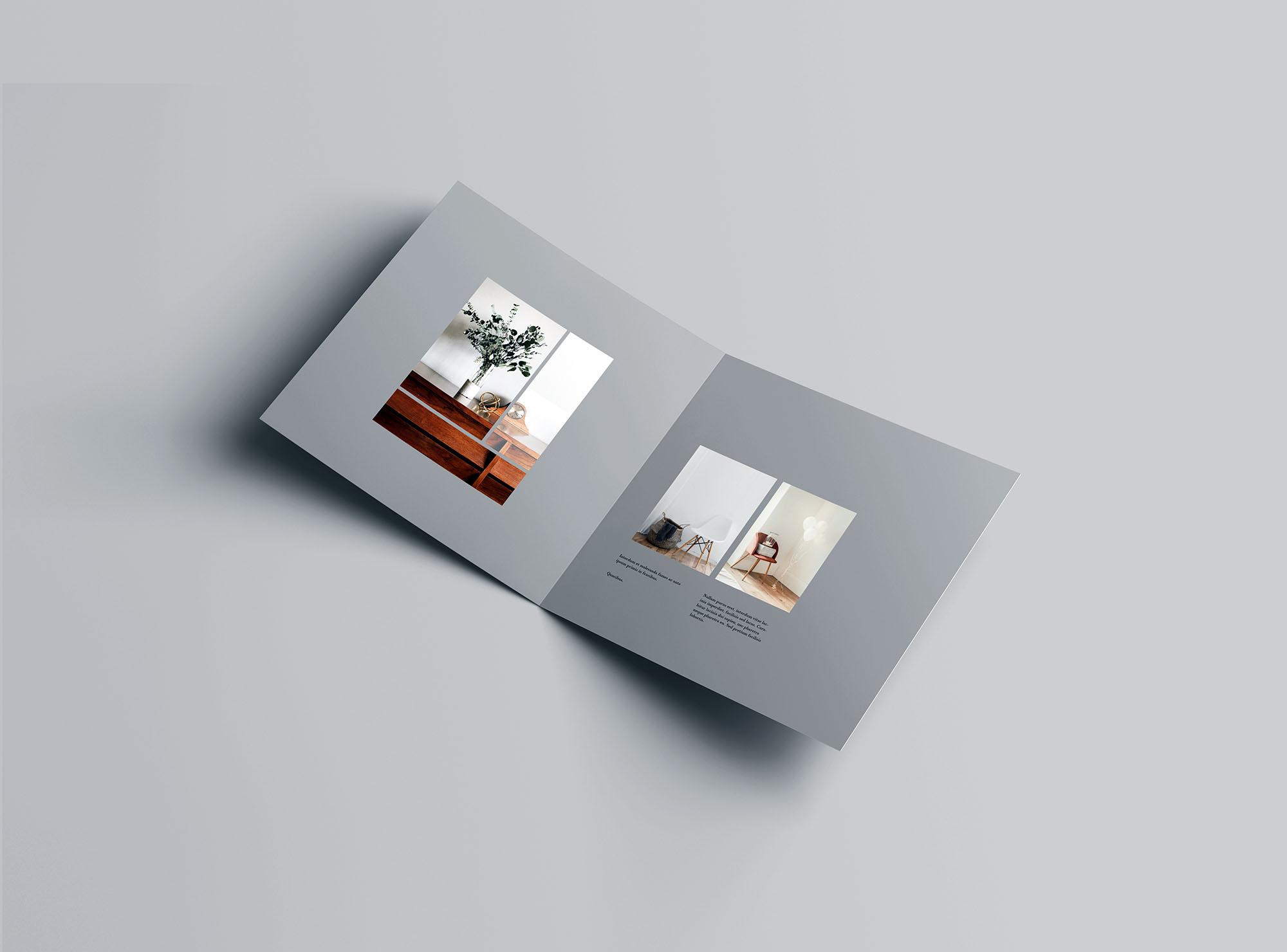 高级方形双折小册子样机PSD模板 Square Bifold Brochure Mockup插图(2)