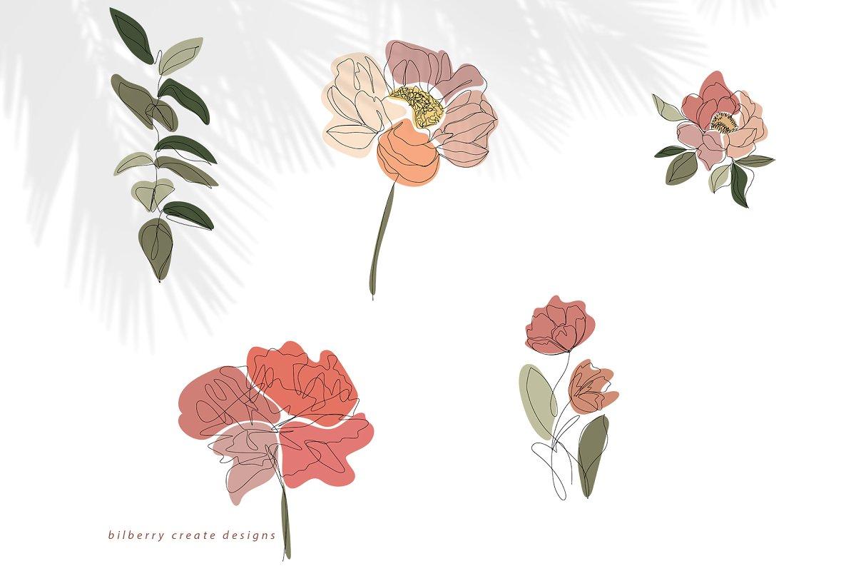 现代抽象叶子花卉女性人脸矢量插图 MonoGirl collection插图(19)