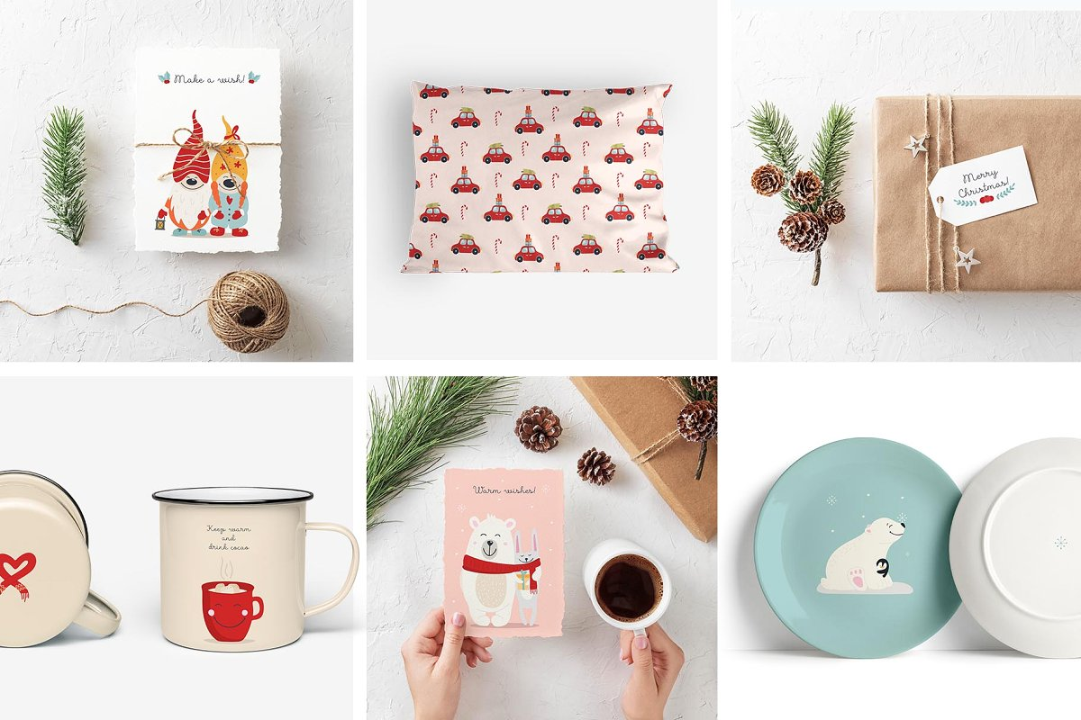 圣诞节主题拥抱系列手绘插画元素图案素材包  ChristmasHugs Collection插图(2)