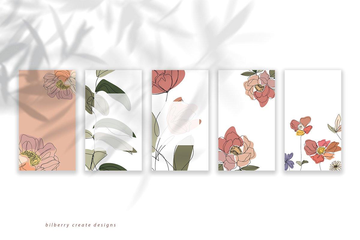 现代抽象叶子花卉女性人脸矢量插图 MonoGirl collection插图(2)