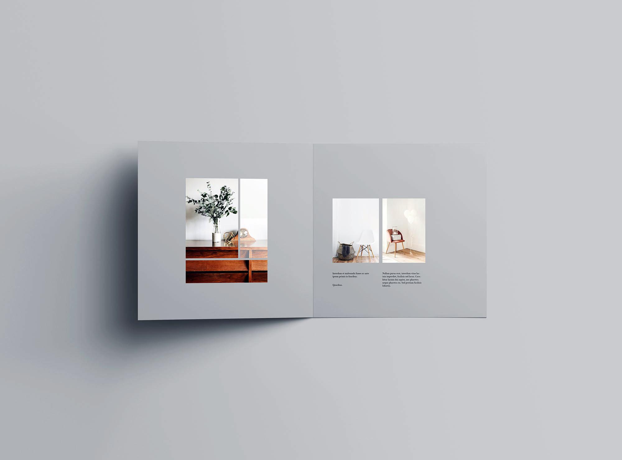 高级方形双折小册子样机PSD模板 Square Bifold Brochure Mockup插图(3)