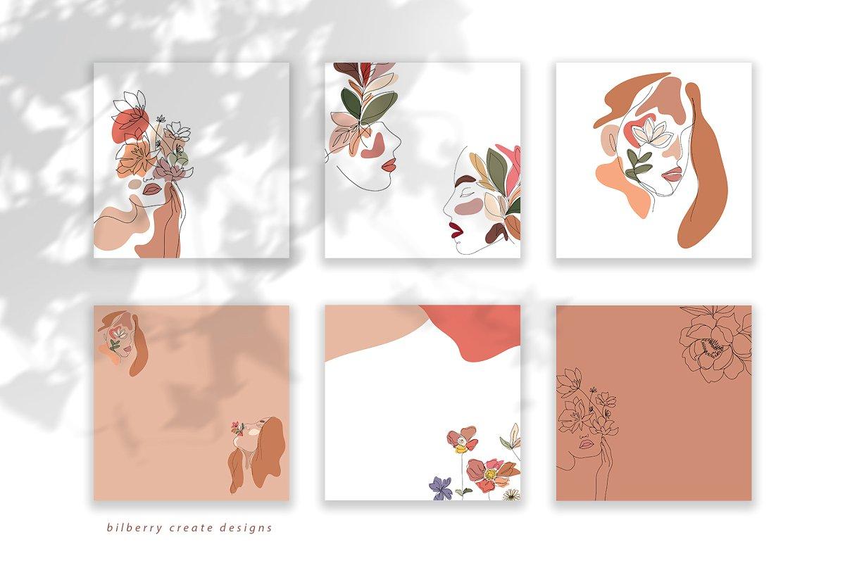 现代抽象叶子花卉女性人脸矢量插图 MonoGirl collection插图(3)