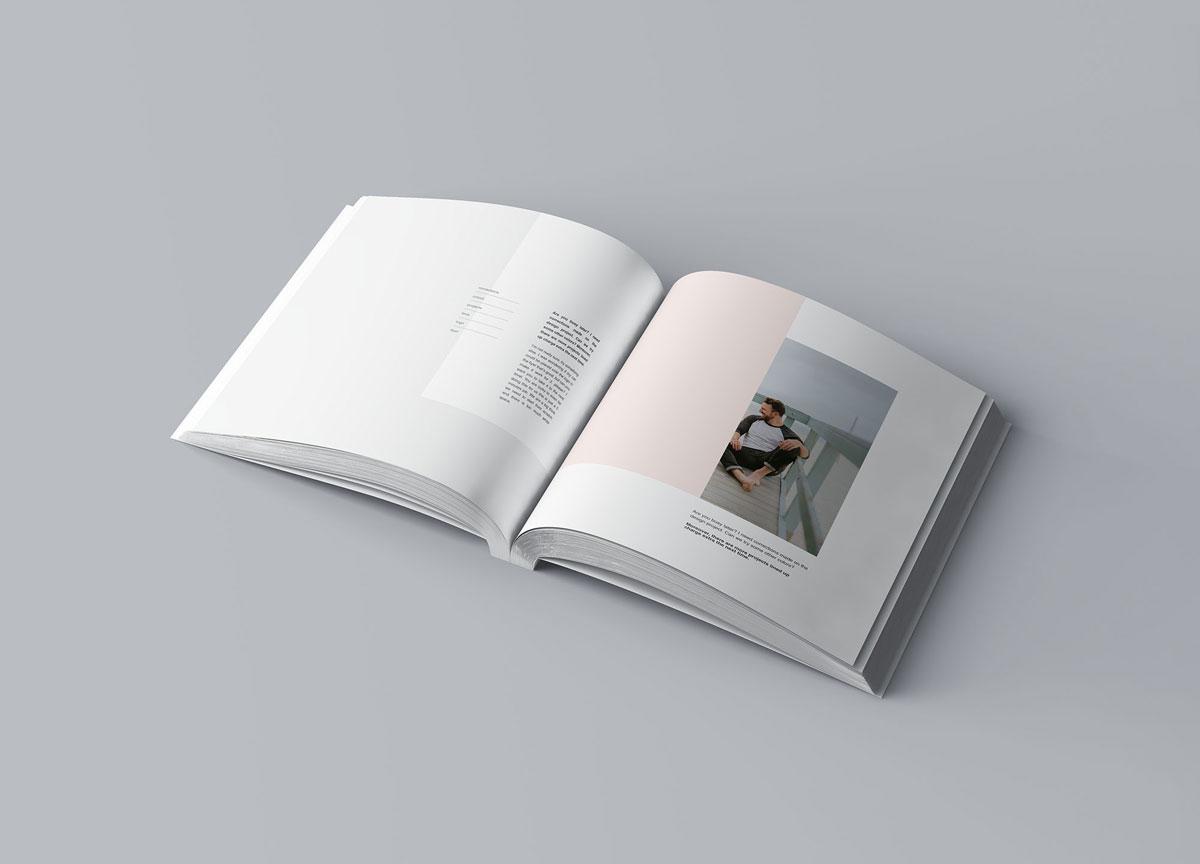 方形精装书画册封面设计预览效果样机模板 Square Softcover Book Mocku插图4