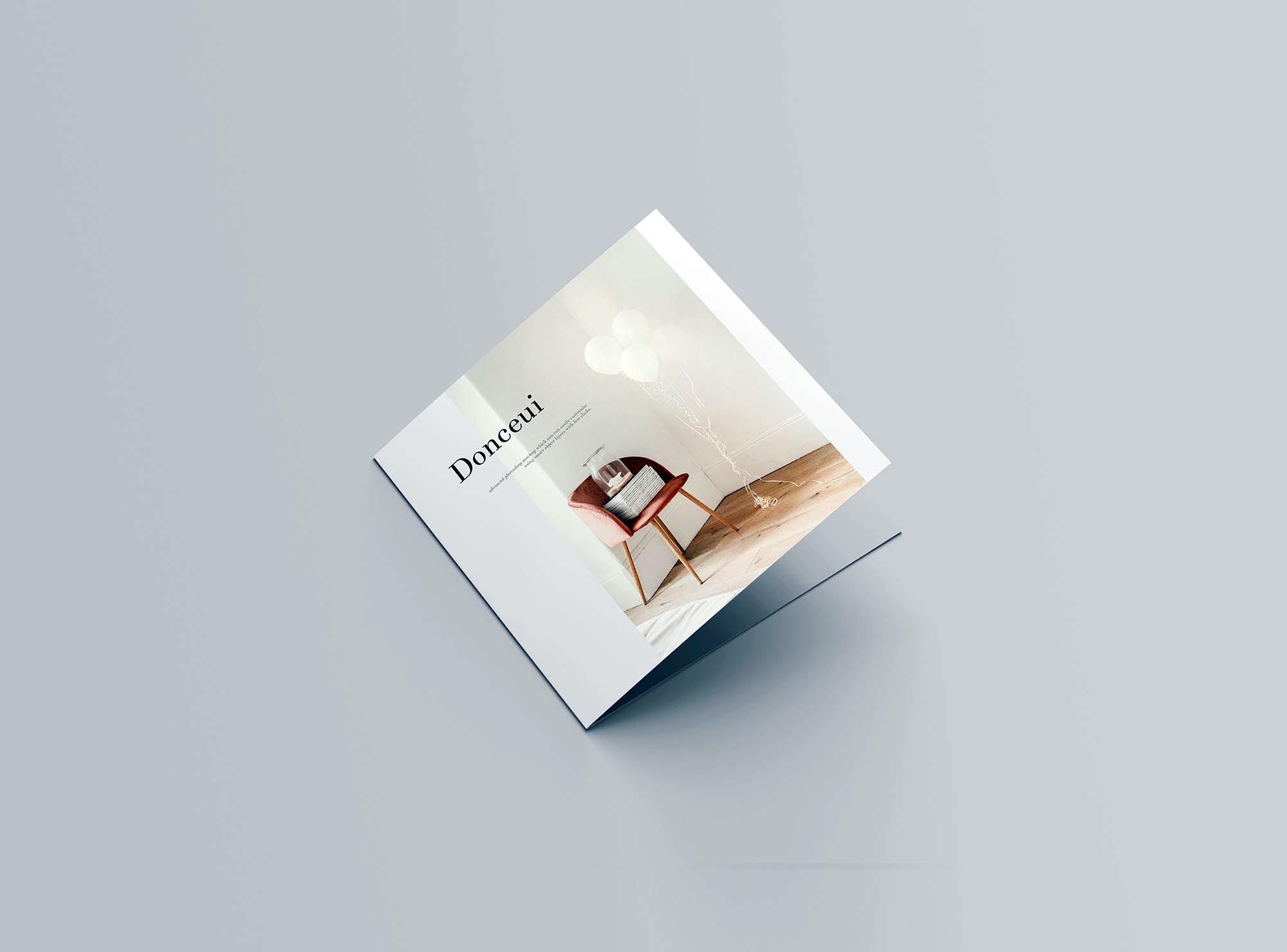 高级方形双折小册子样机PSD模板 Square Bifold Brochure Mockup插图(4)