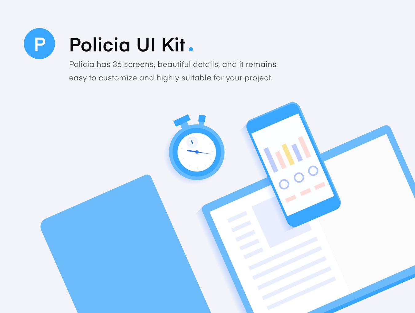 图书小说在线阅读跟踪应用APP UI套件 Policia UI Kits插图
