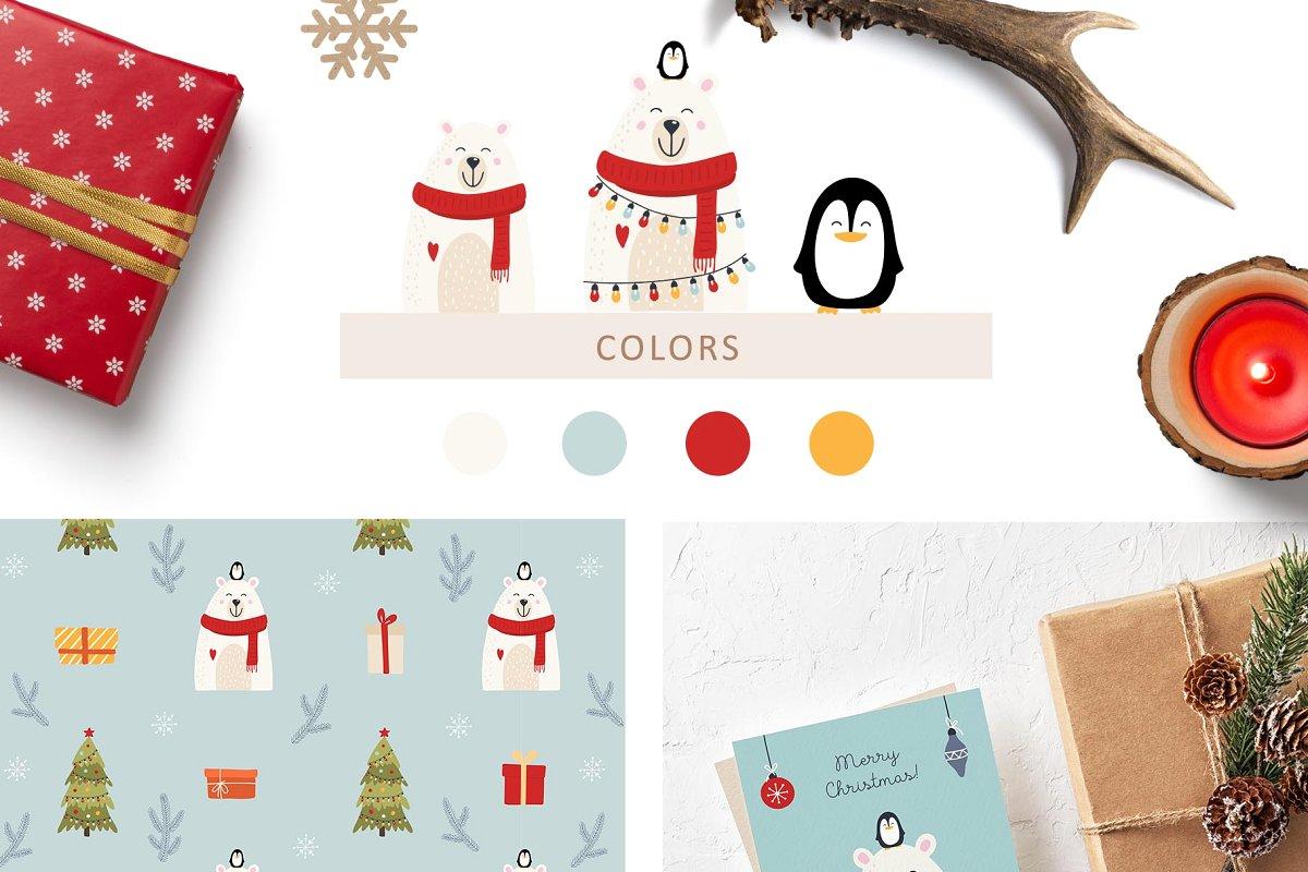 圣诞节主题拥抱系列手绘插画元素图案素材包  ChristmasHugs Collection插图(4)