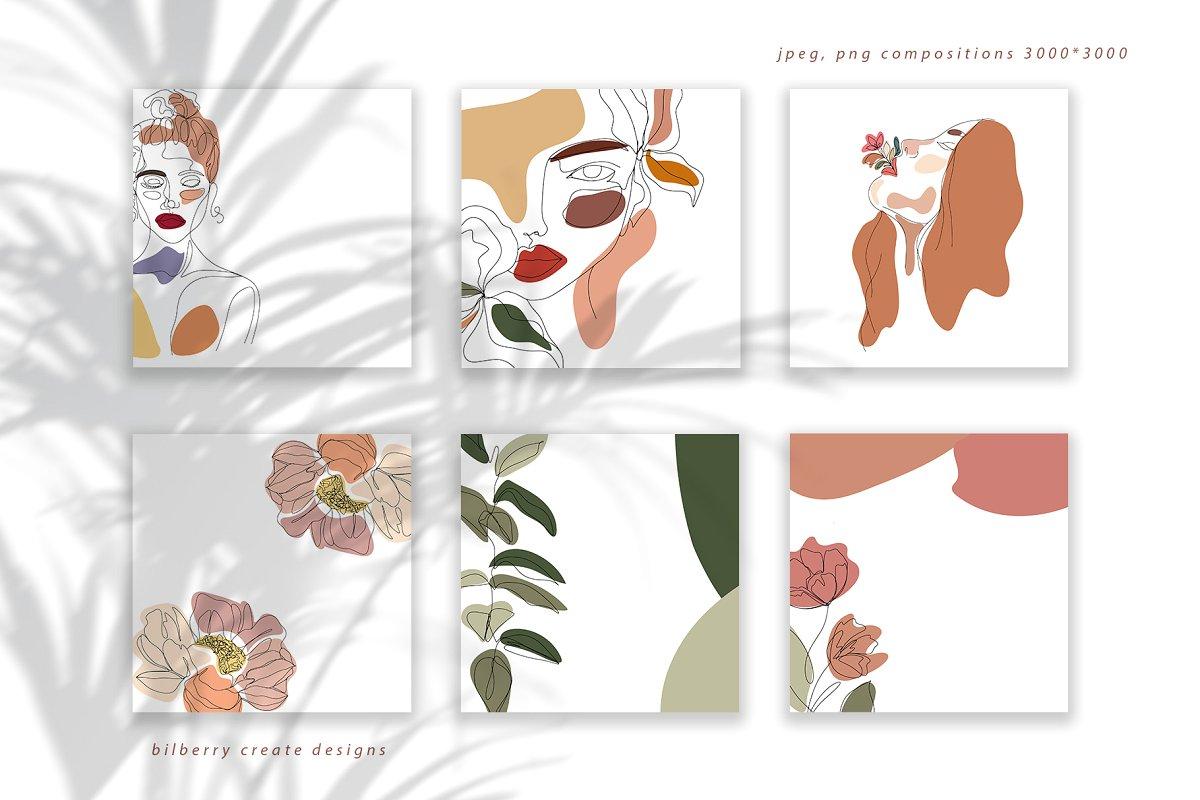 现代抽象叶子花卉女性人脸矢量插图 MonoGirl collection插图(4)
