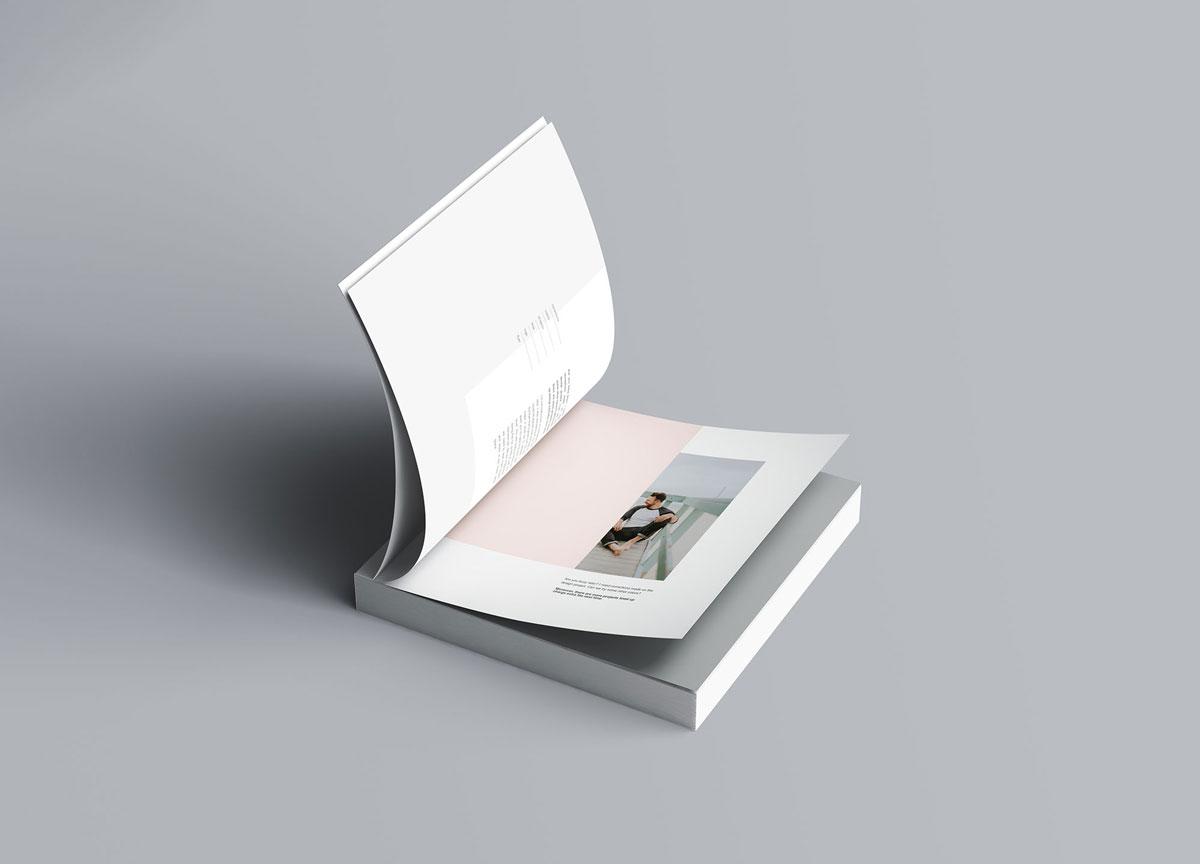 方形精装书画册封面设计预览效果样机模板 Square Softcover Book Mocku插图(5)