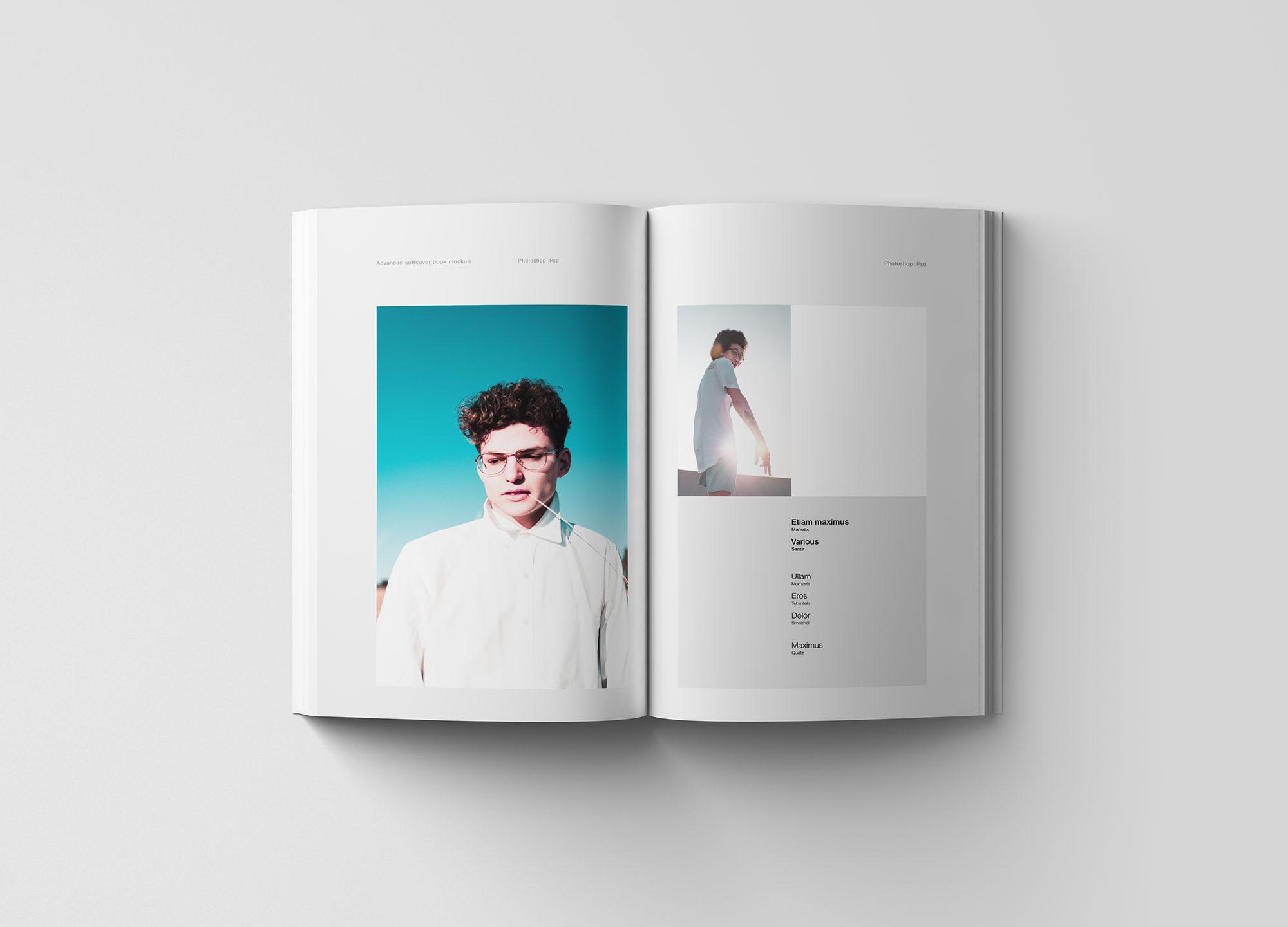 专业设计的A5平装书画册样机PSD模板 A5 Softcover Book Mockup插图(5)