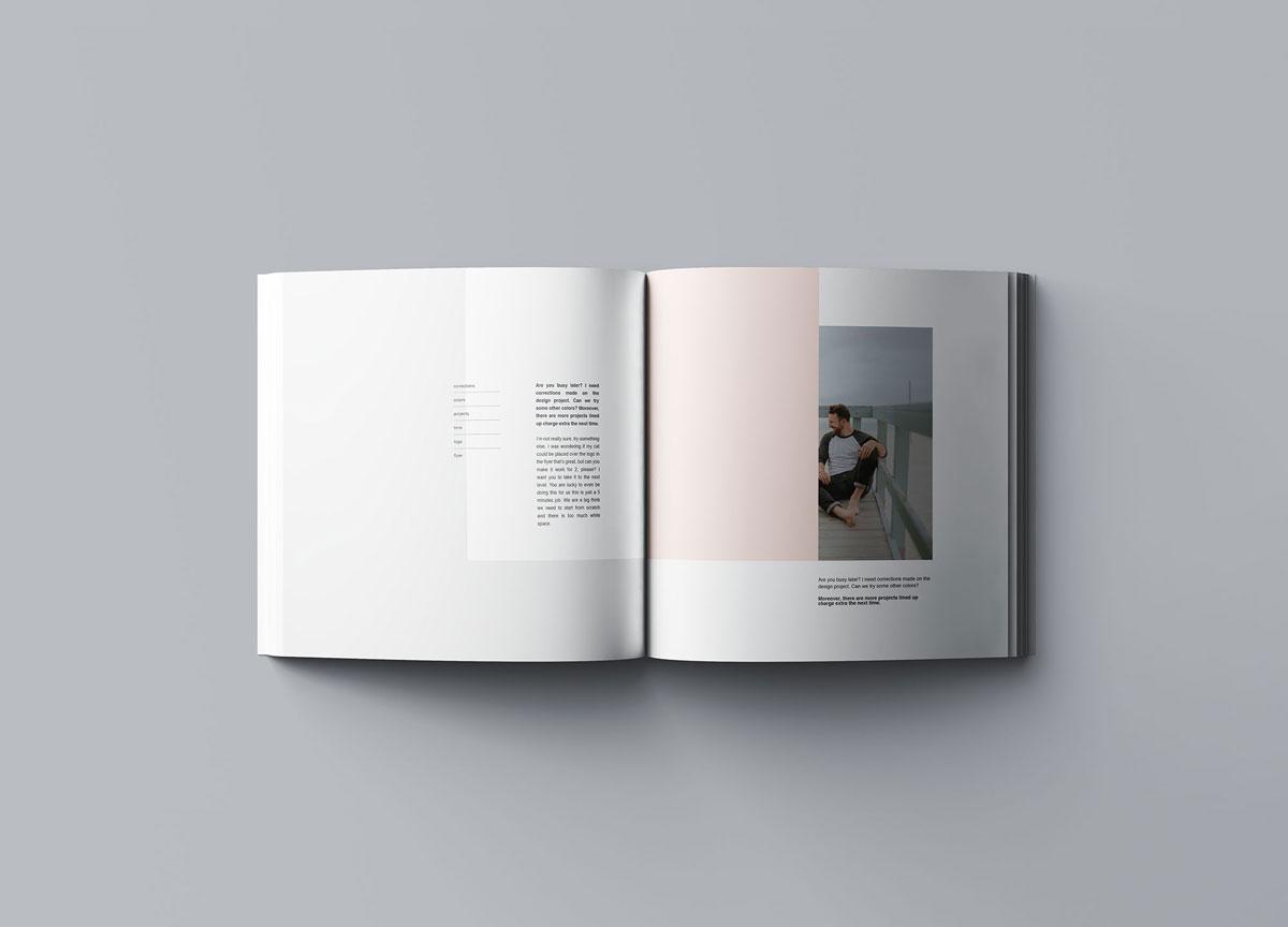 方形精装书画册封面设计预览效果样机模板 Square Softcover Book Mocku插图(6)