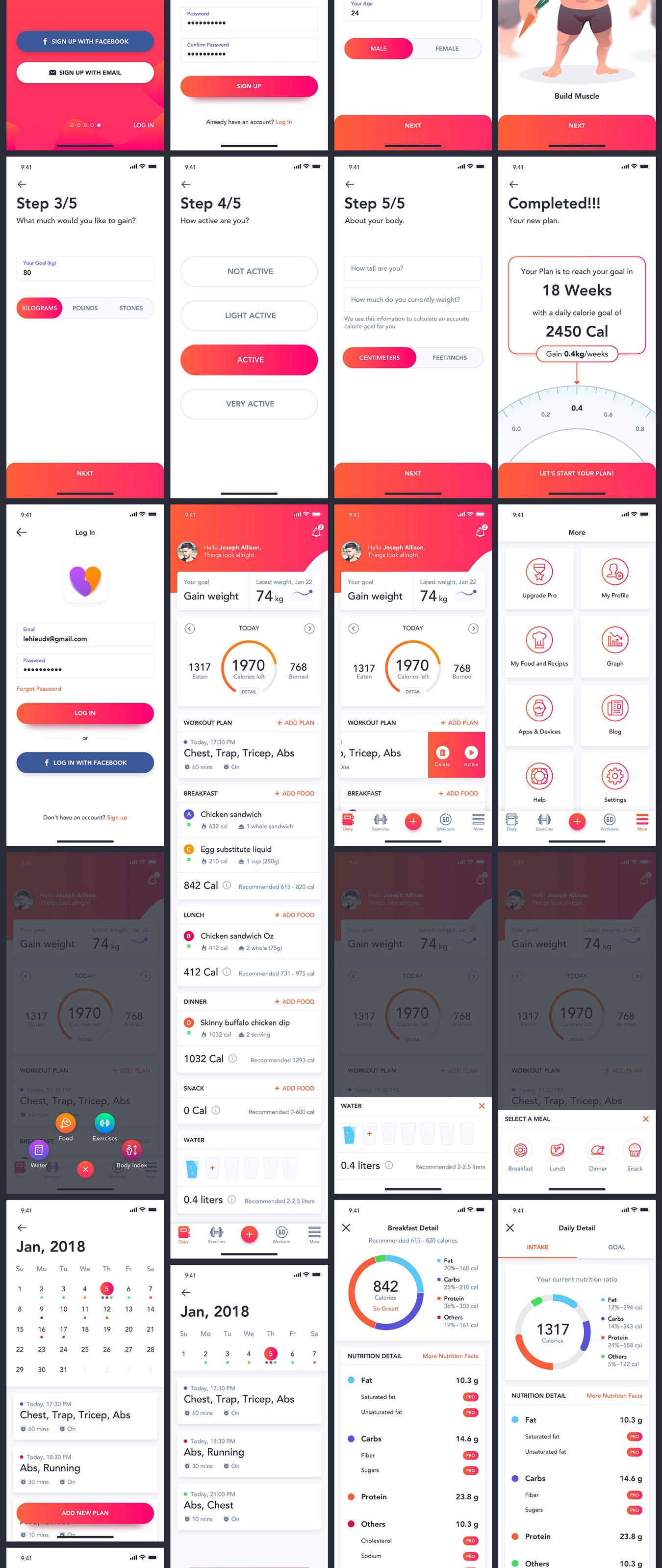 体能健康数据统计&健身培训iOS Apps UI套件 Fitness Love 2.0插图(9)