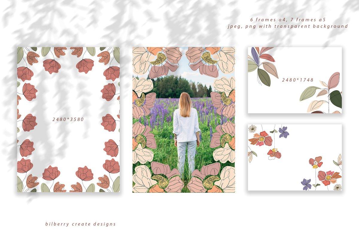 现代抽象叶子花卉女性人脸矢量插图 MonoGirl collection插图(6)
