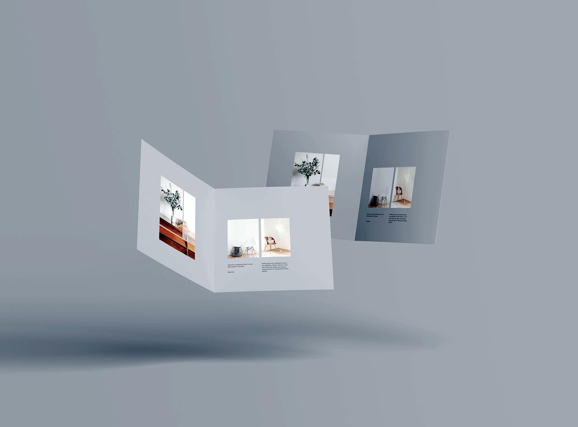 高级方形双折小册子样机PSD模板 Square Bifold Brochure Mockup插图(7)