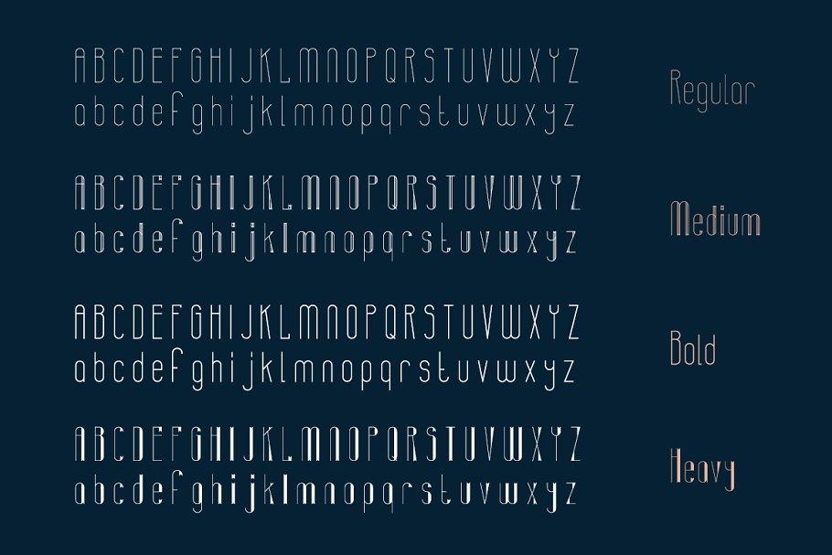 极简复古几何形状构建的英文字体下载 Banret. Font Family插图(7)