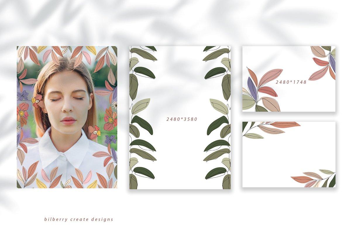 现代抽象叶子花卉女性人脸矢量插图 MonoGirl collection插图(7)