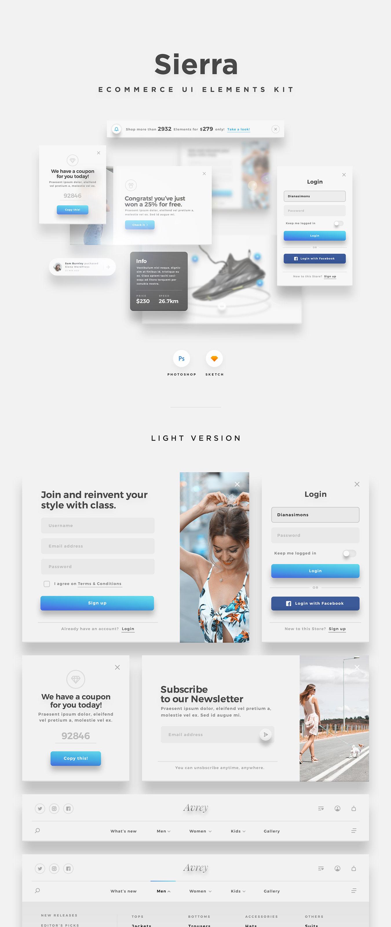 精美的服装鞋子电子商务Web UI套件 Sierra – E-commerce Web UI Kit插图(8)
