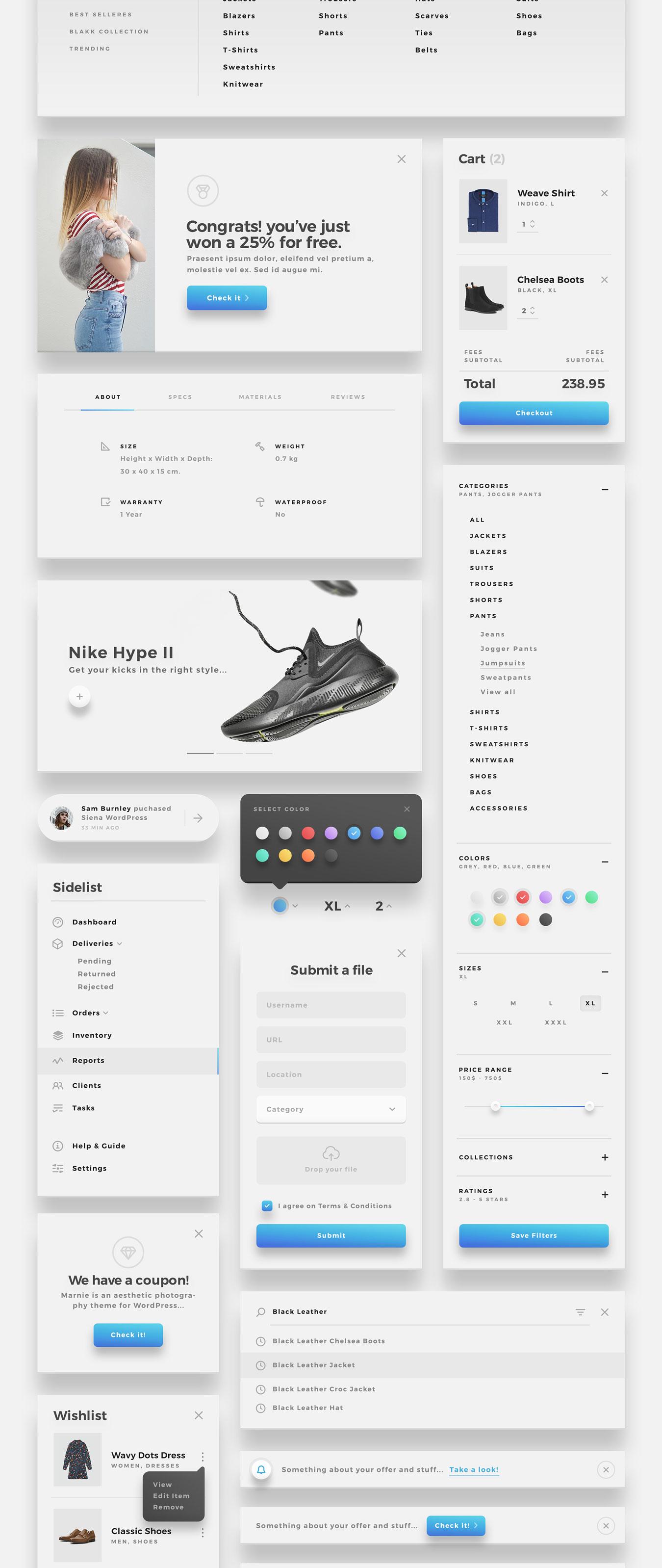 精美的服装鞋子电子商务Web UI套件 Sierra – E-commerce Web UI Kit插图(10)