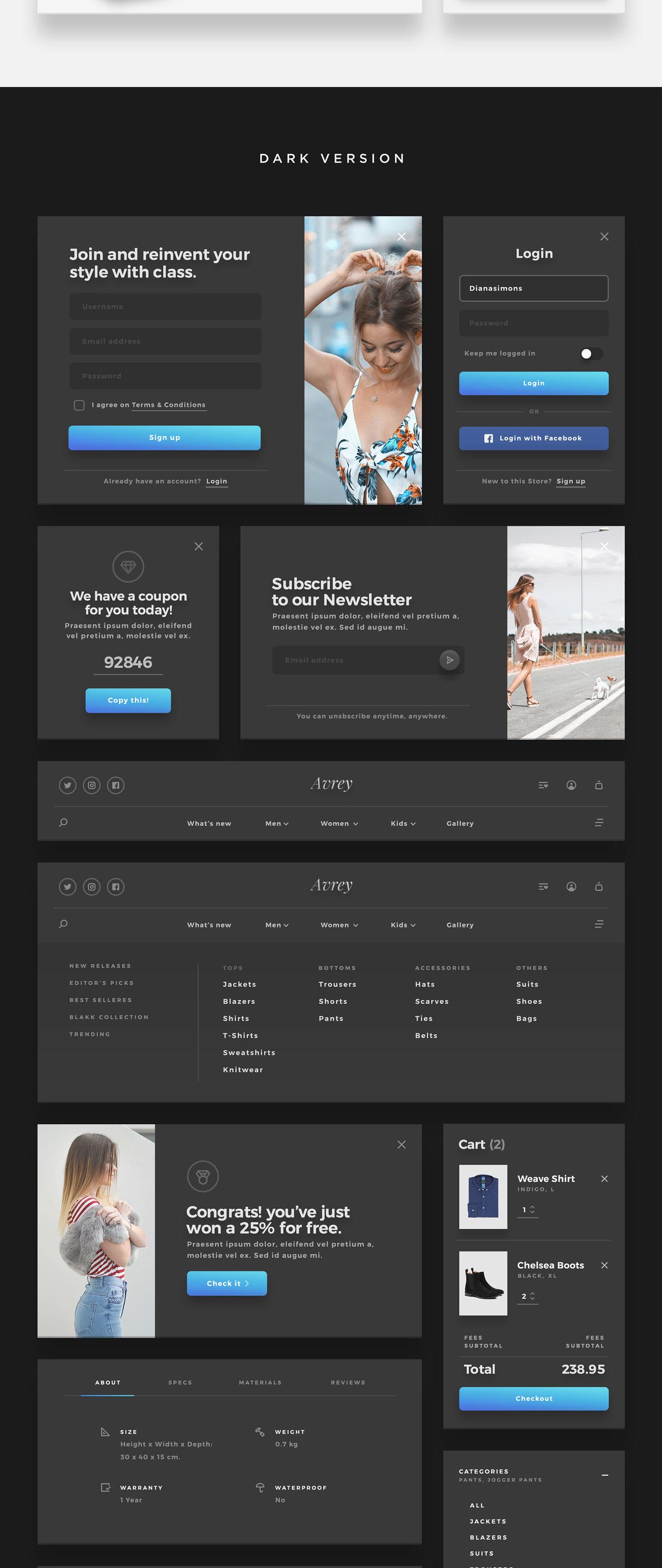 精美的服装鞋子电子商务Web UI套件 Sierra – E-commerce Web UI Kit插图(13)