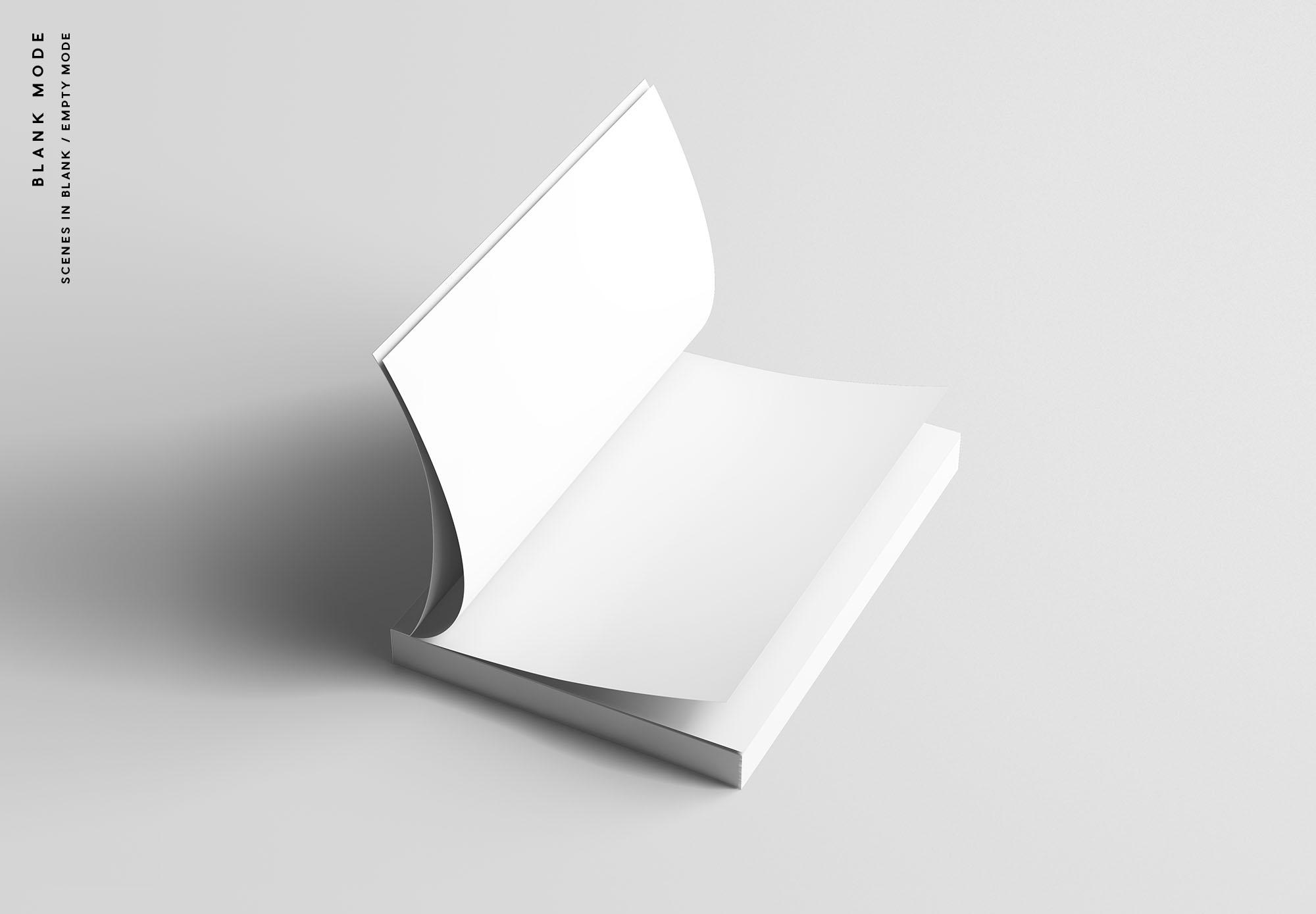专业设计的A5平装书画册样机PSD模板 A5 Softcover Book Mockup插图(8)