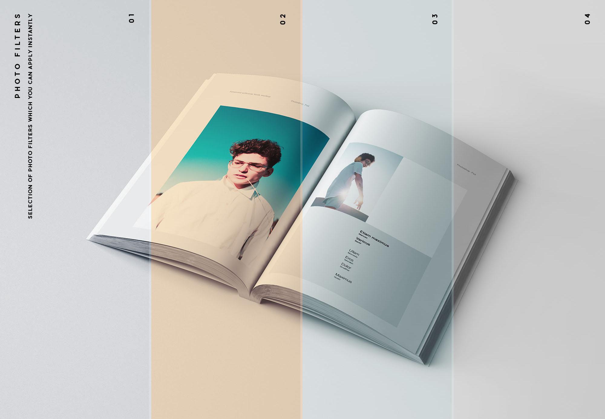 专业设计的A5平装书画册样机PSD模板 A5 Softcover Book Mockup插图(7)