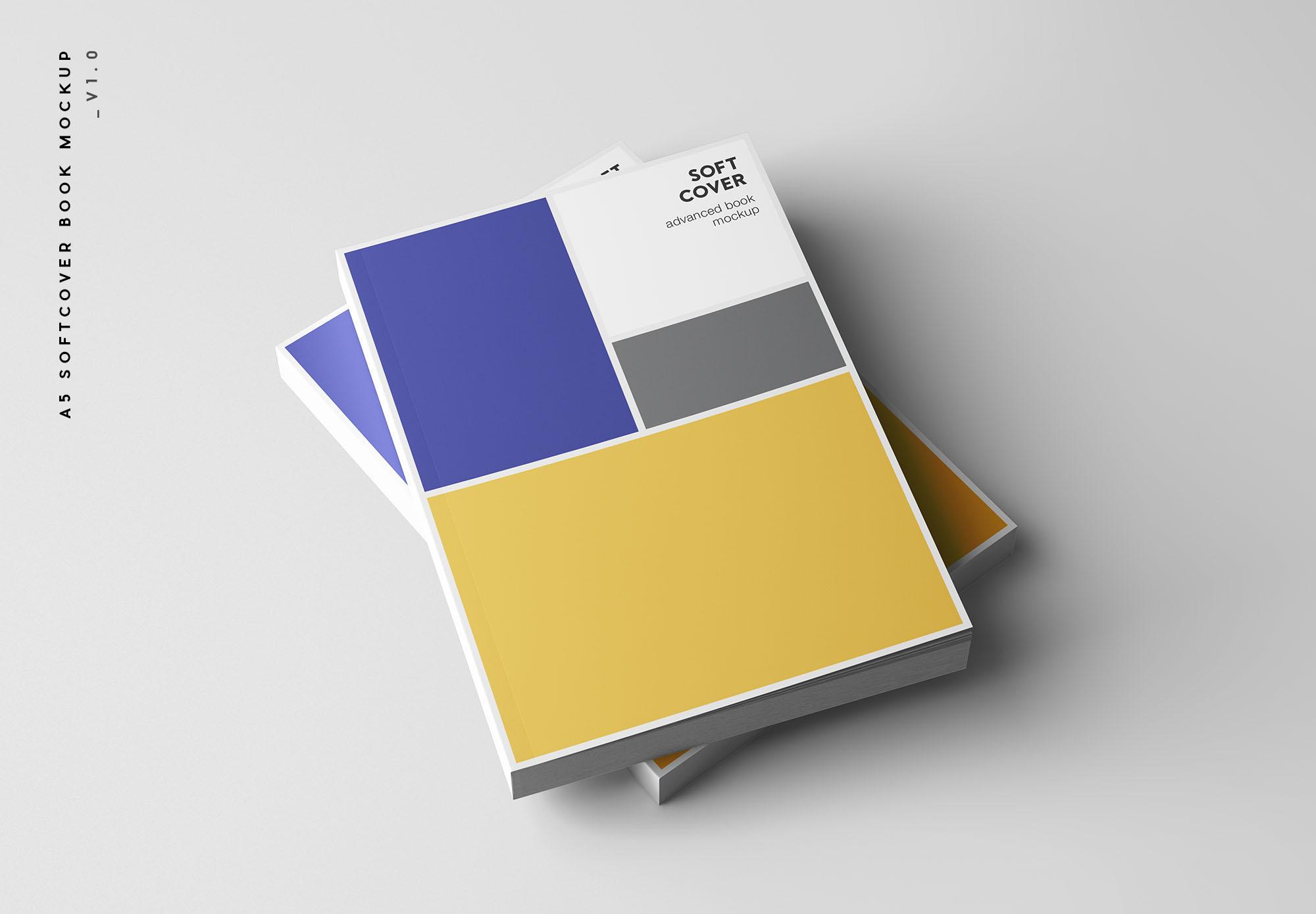 专业设计的A5平装书画册样机PSD模板 A5 Softcover Book Mockup插图