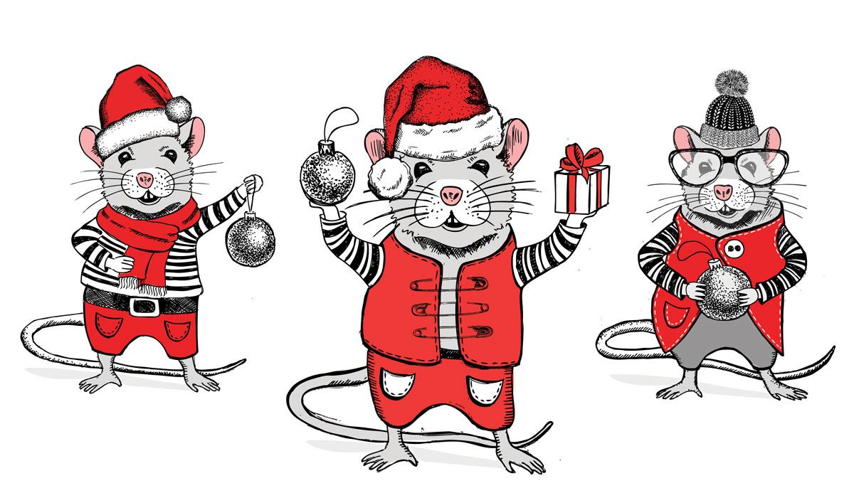 2020年手绘圣诞风小老鼠元素矢量图形鼠年日历模板 Mouse Vector Hand Drawn Illustration, New Year Card插图(6)