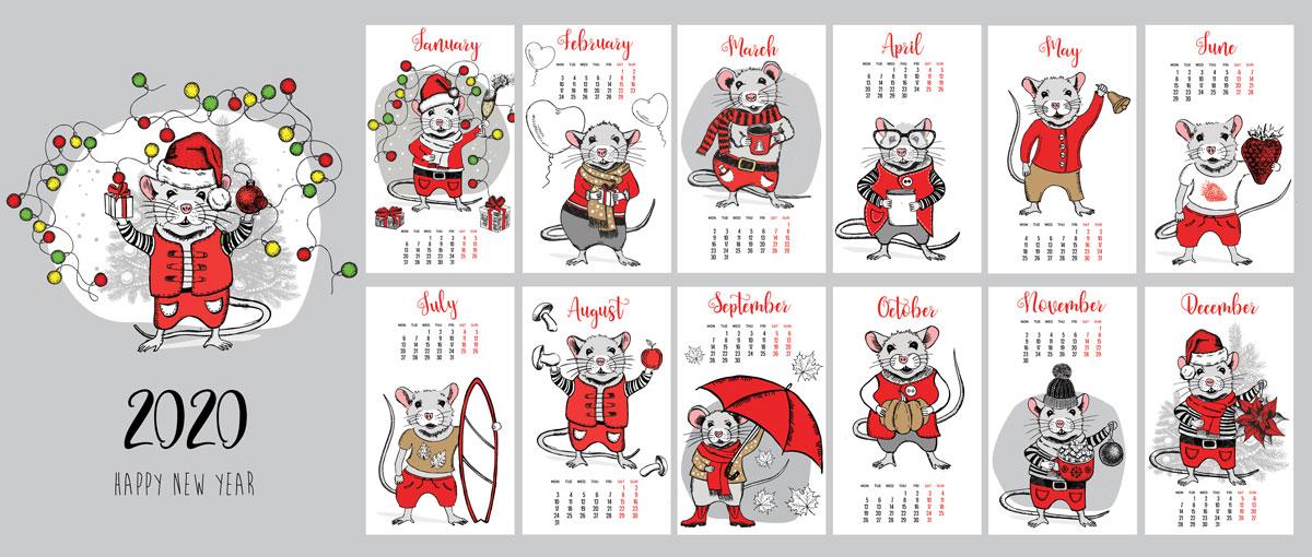 2020年手绘圣诞风小老鼠元素矢量图形鼠年日历模板 Mouse Vector Hand Drawn Illustration, New Year Card插图(5)