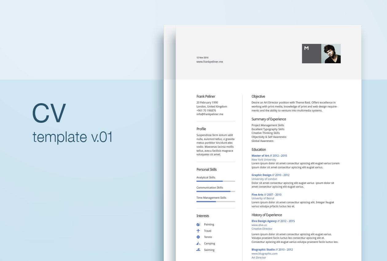 现代网格设计的简历AI模板 Modern Cv Template插图