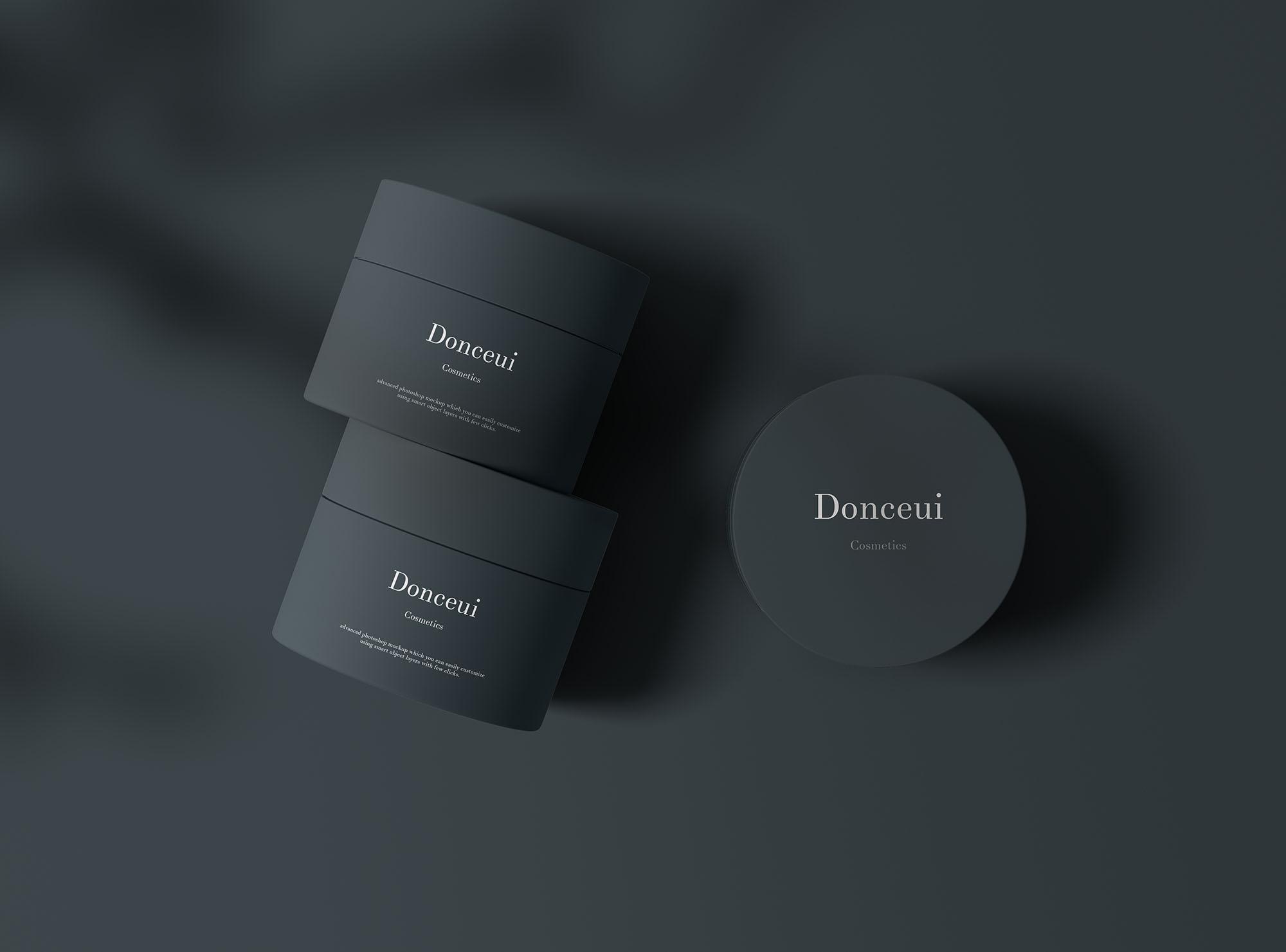 带有阴影覆盖物的化妆品罐样机 Cosmetic Jars Mockup插图(1)