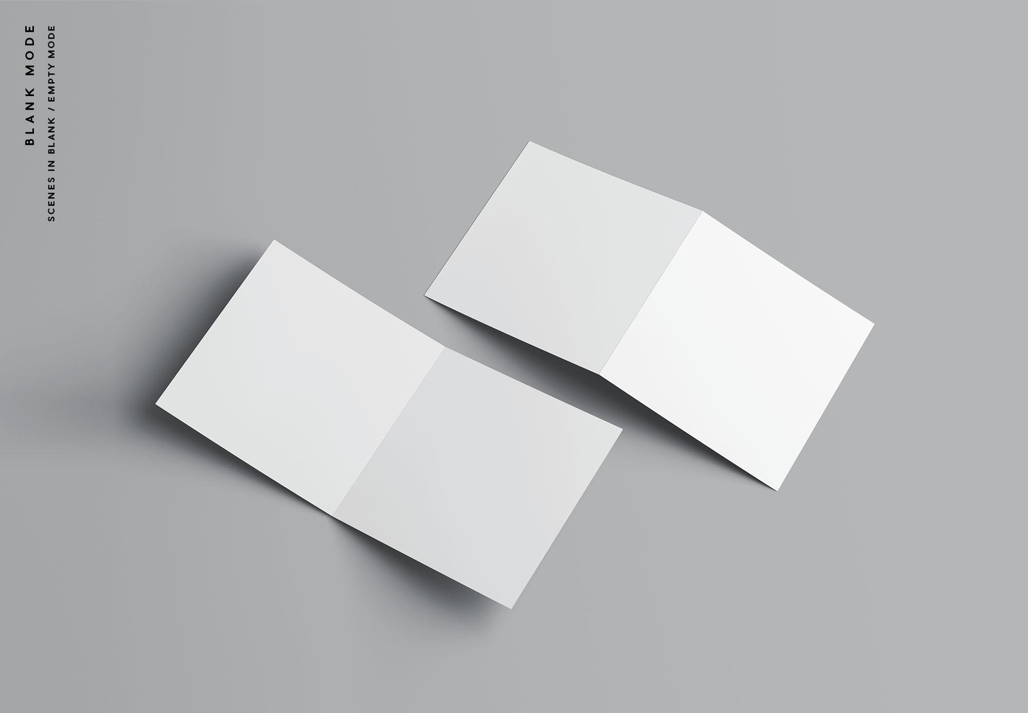 高级方形双折小册子样机PSD模板 Square Bifold Brochure Mockup插图(9)