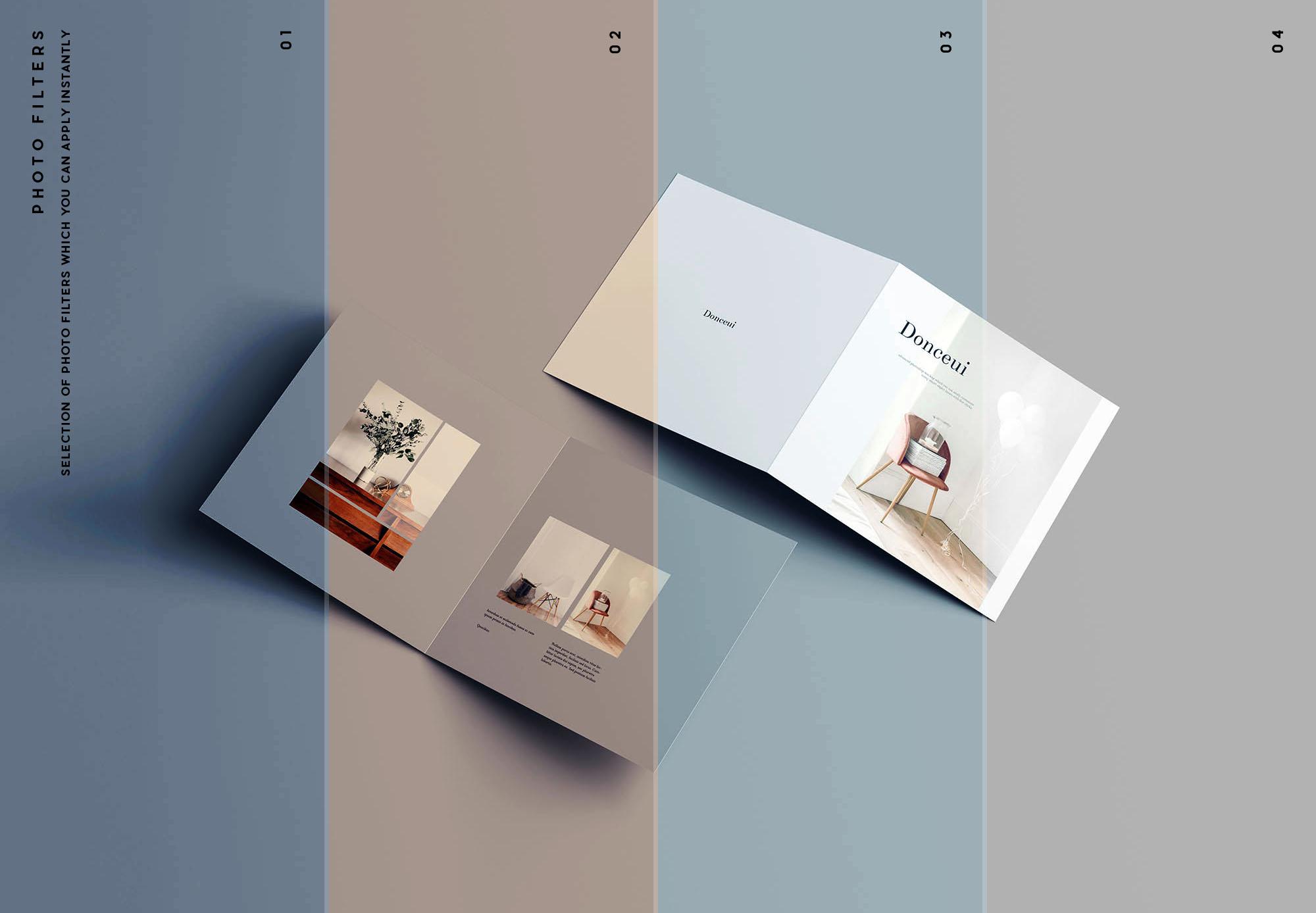 高级方形双折小册子样机PSD模板 Square Bifold Brochure Mockup插图(10)