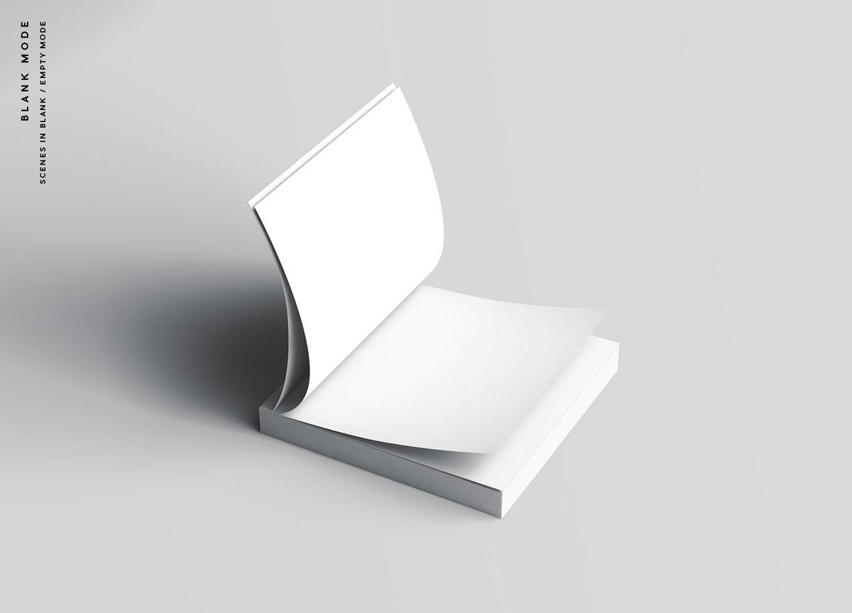 方形精装书画册封面设计预览效果样机模板 Square Softcover Book Mocku插图(10)