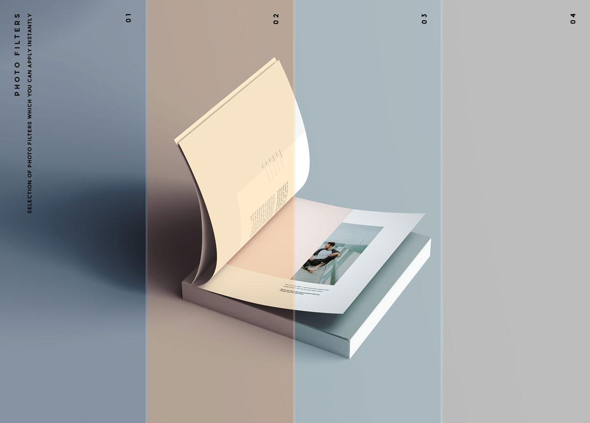 方形精装书画册封面设计预览效果样机模板 Square Softcover Book Mocku插图9